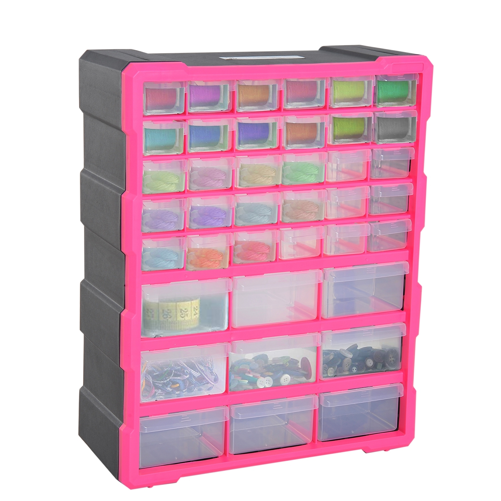Image of €35,35 DURHAND Casier de Rangement avec 39 Compartiments/Tiroirs Transparents Polypropylène 38 x 16 48 cm Rose Rouge / Homcom Module 38L 16l 48H tiroirs Transparent Noir B40-019 3662970041727