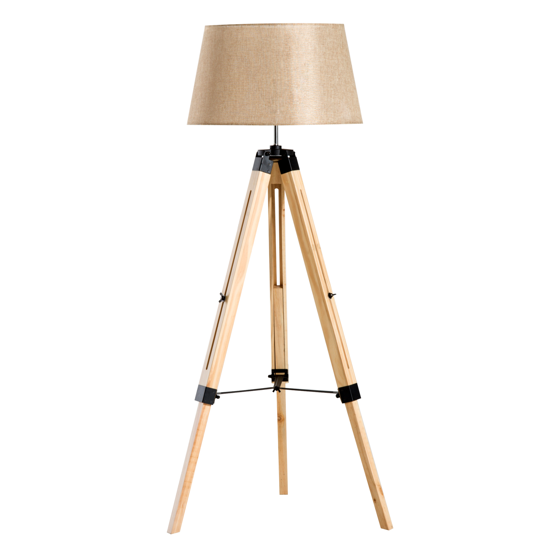 Homcom Lampadaire Style Nordique 40 W en Bois Beige 65 x 65 x 143 cm