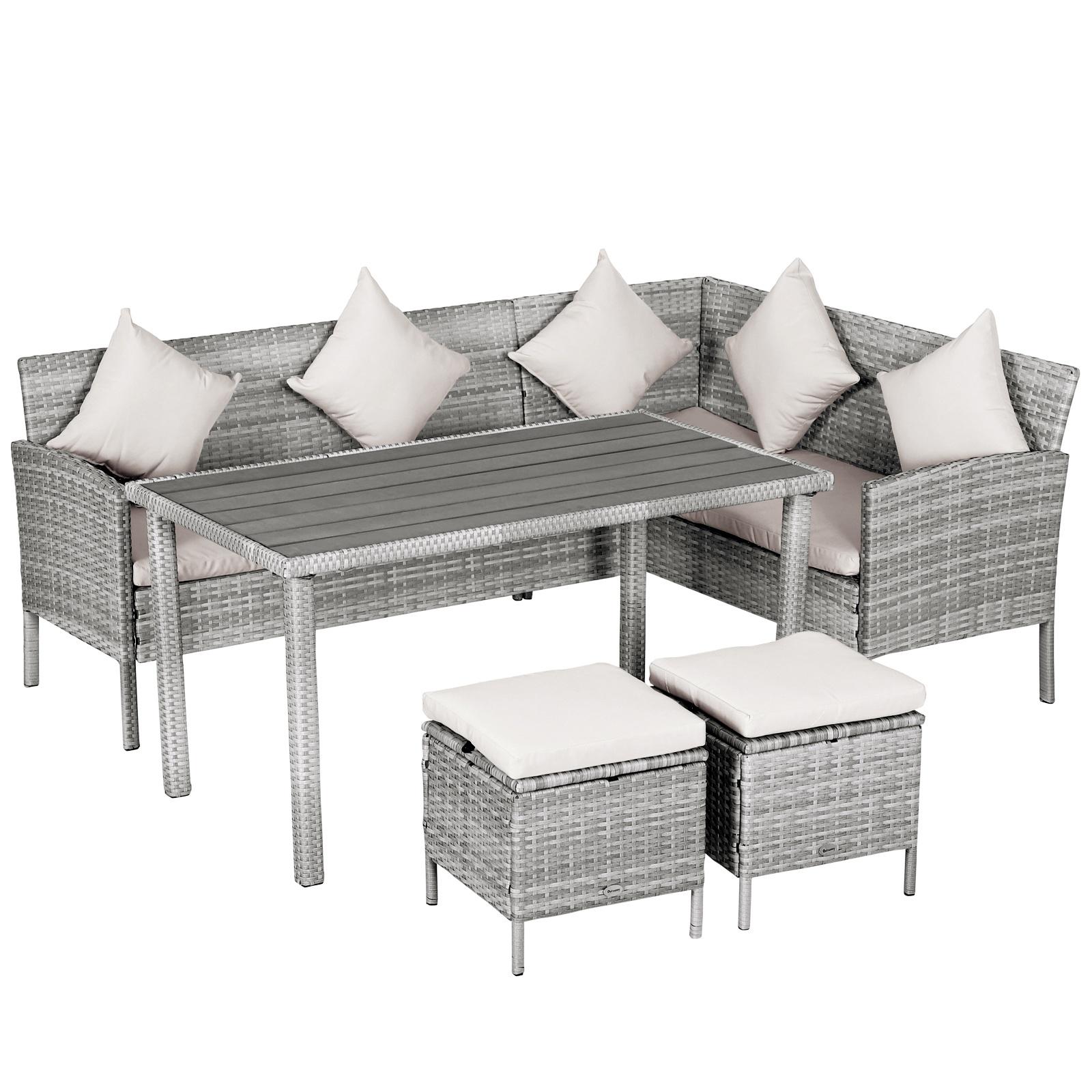 Salon de jardin 6 pers. canapé d'angle + 2 poufs + table à manger résine tressée gris