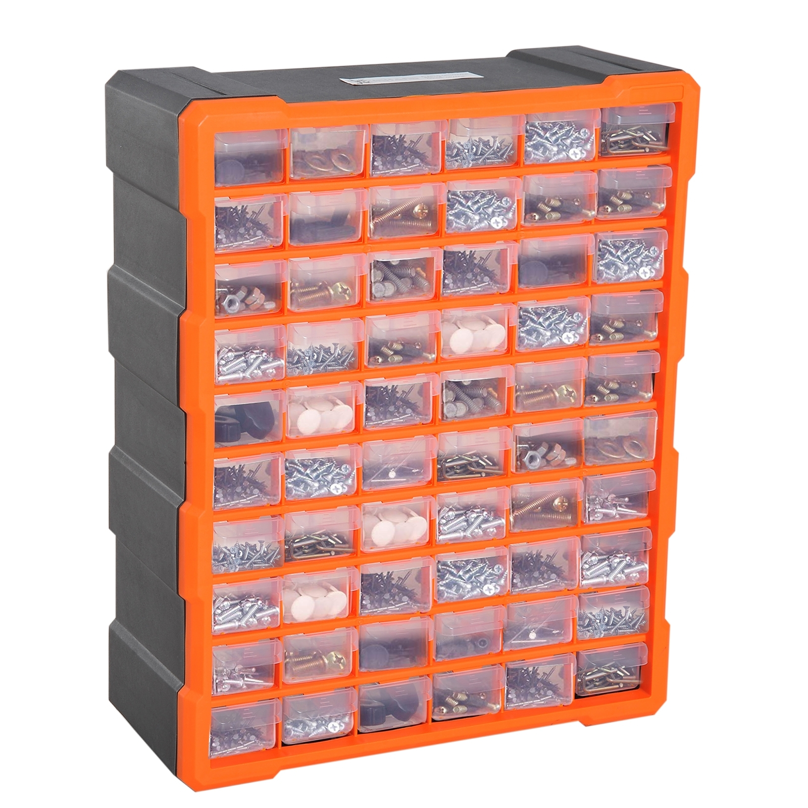 Image of €37,00 DURHAND Casier de Rangement avec 60 Compartiments/Tiroirs Transparents Polypropylène 38 x 16 48 cm Orange / Homcom Module 38L 16l 48H tiroirs Transparent Noir B40-018 3662970041710