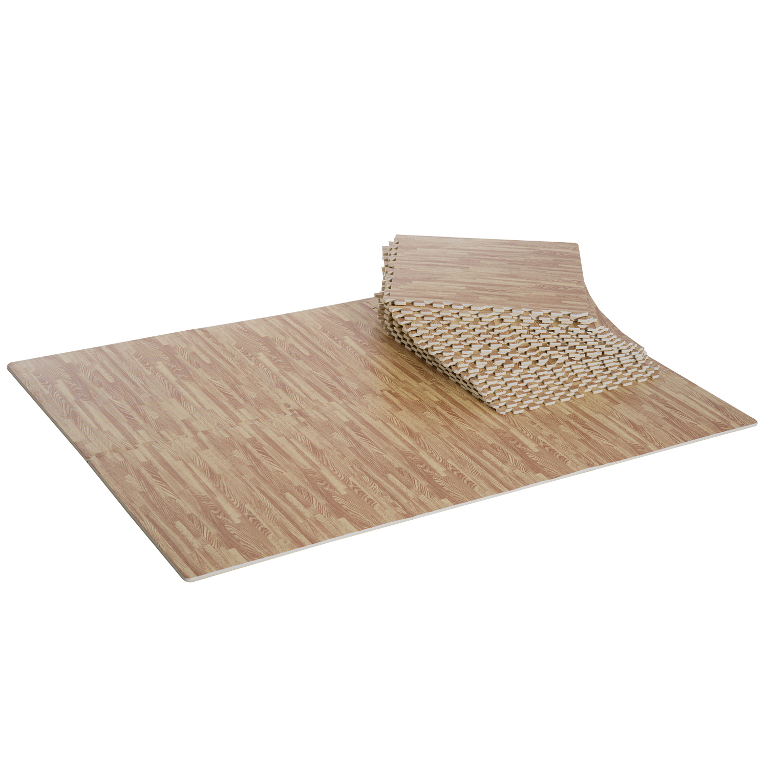 Homcom Tapis Interconnectables en Mousse Marron 62 x 62 x 1 cm