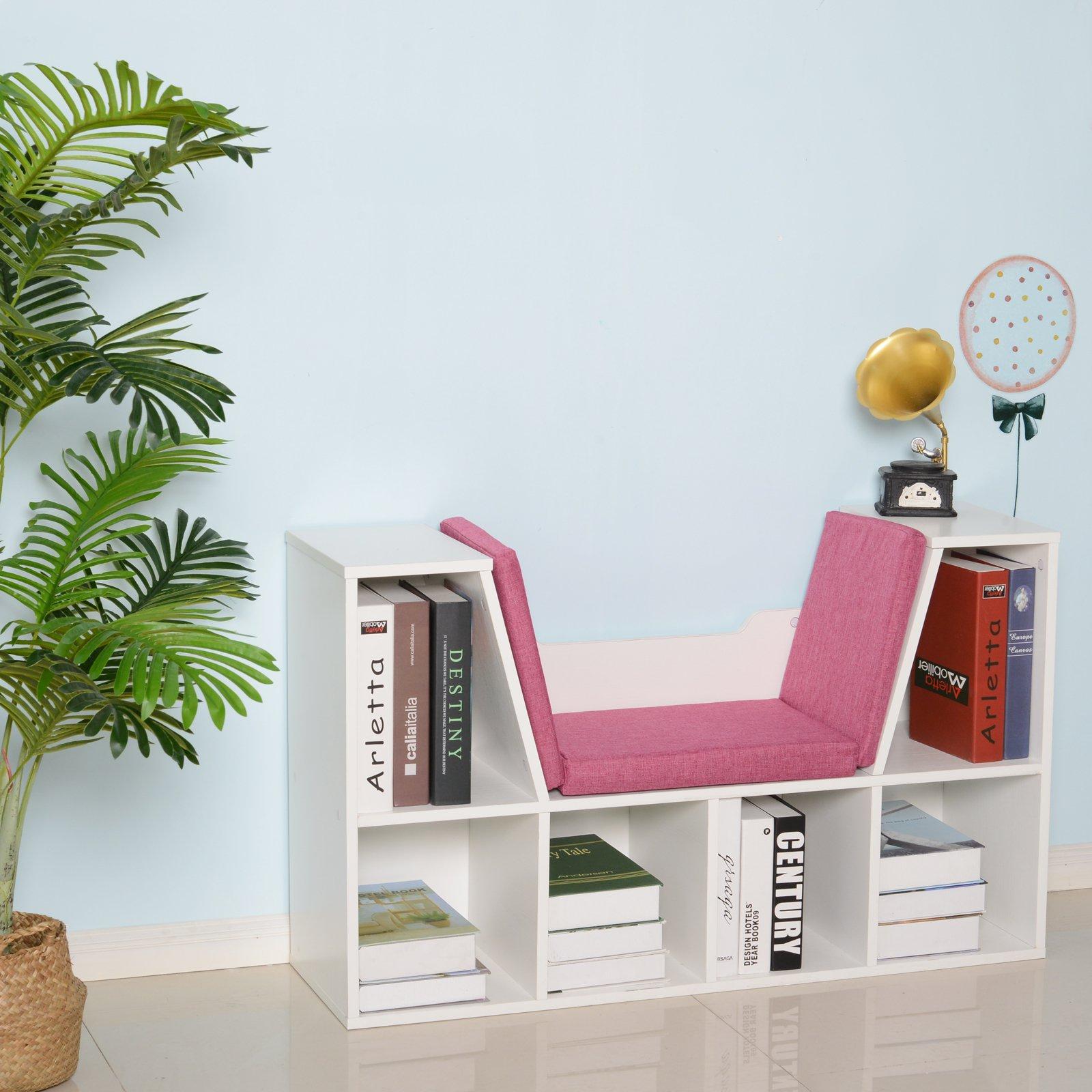 Bibliothèque banc 2 en 1 - 6 casiers blanc coussins inclus