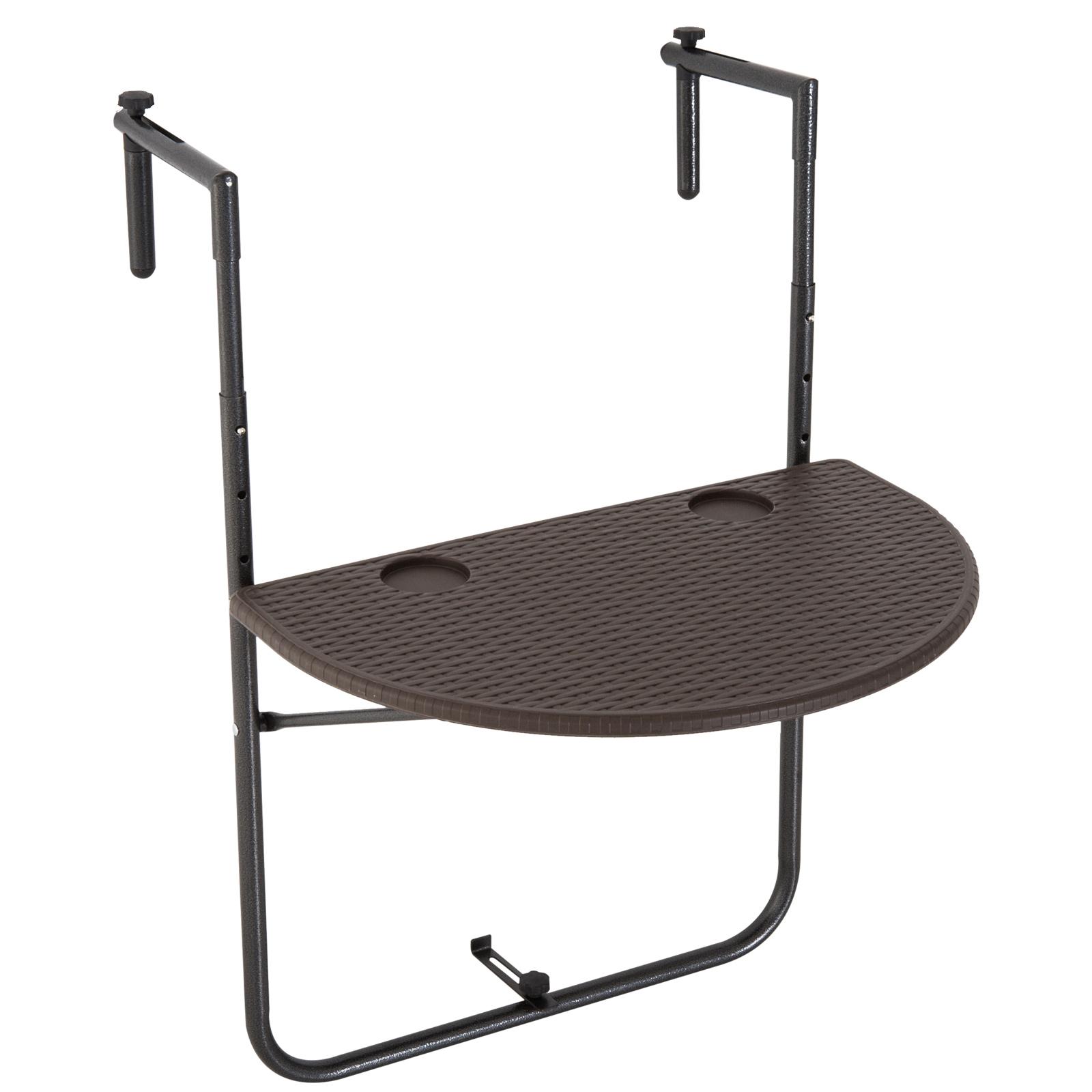 Table suspendue pliable pour balcon hauteur réglable HDPE imitation rotin chocolat