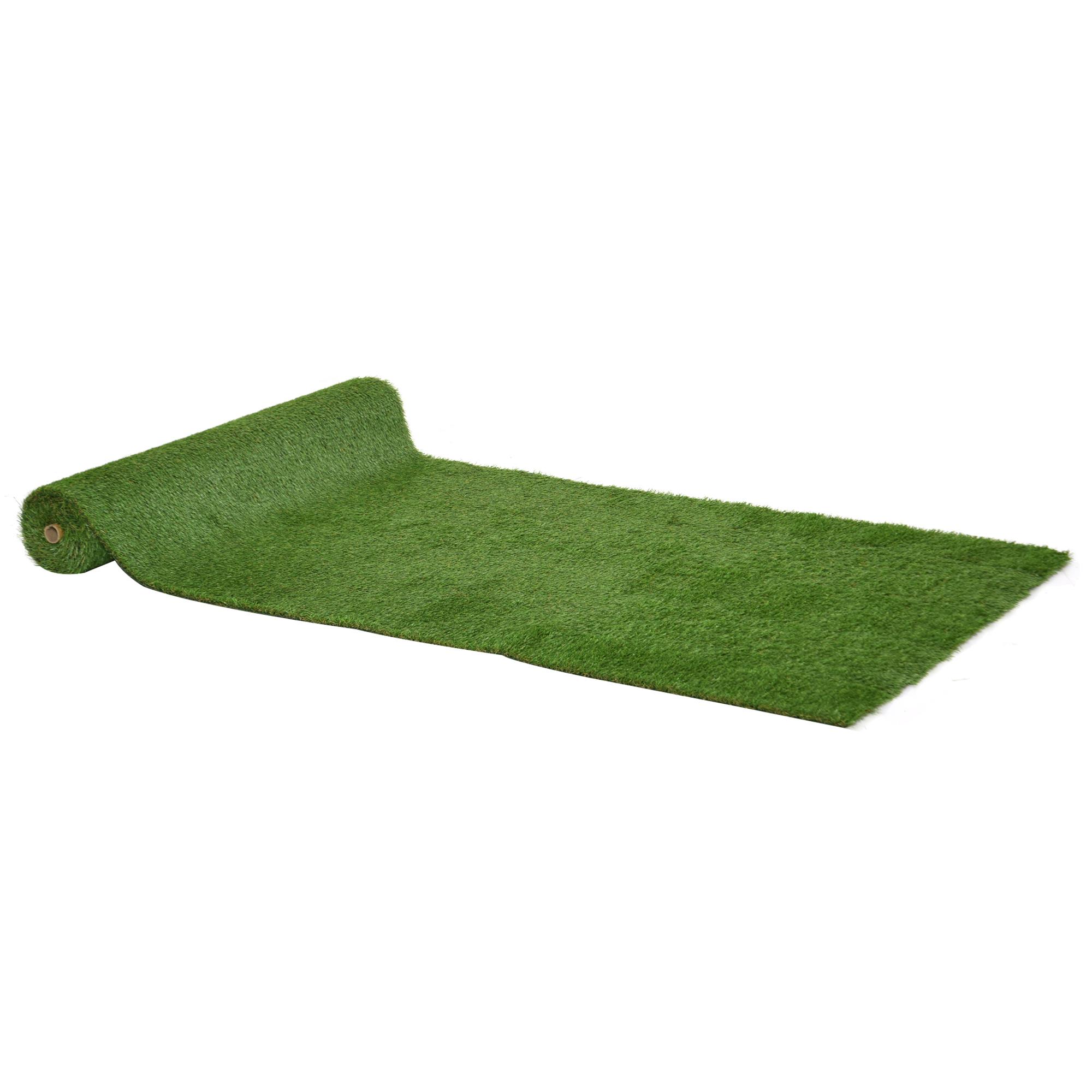 Gazon artificiel synthétique 4L x 1l m herbes hautes denses vert