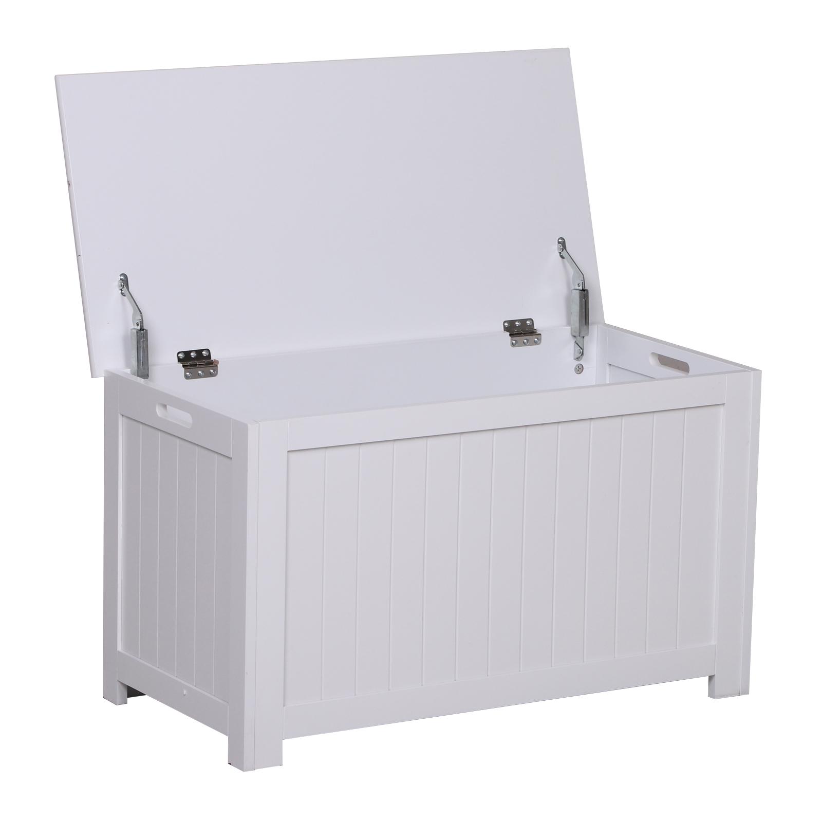 Homcom Coffre malle de rangement 81L x 40l x 46H cm MDF blanc