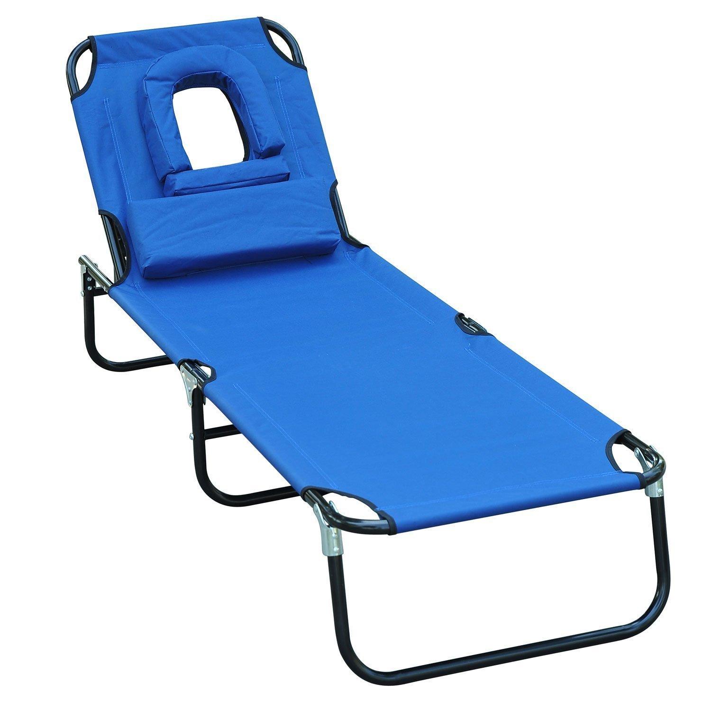 Homcom Chaise Longue de Jardin Pliante en Bois Bleu 80 x 14,5 x 58 cm