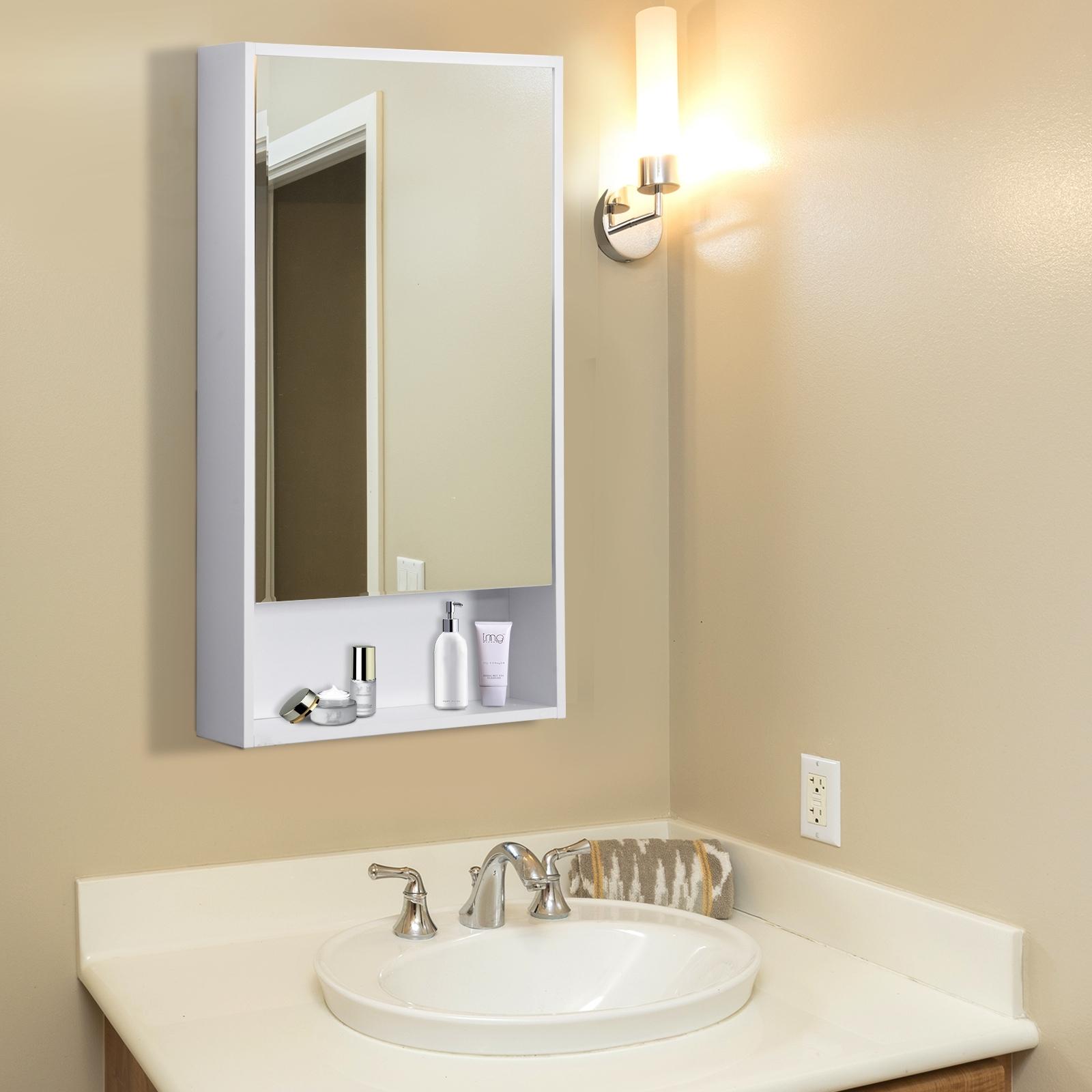 Image of €64,90 kleankin Armoire de Toilettes Salle Bains à Glace Murale avec Porte et Miroir Multi-Rangement 50 x 12 90 cm Blanc / Homcom Toilette Bain 50L 12l 90H 3 Niveaux étagère inférieure 46 834-146 3662970029978