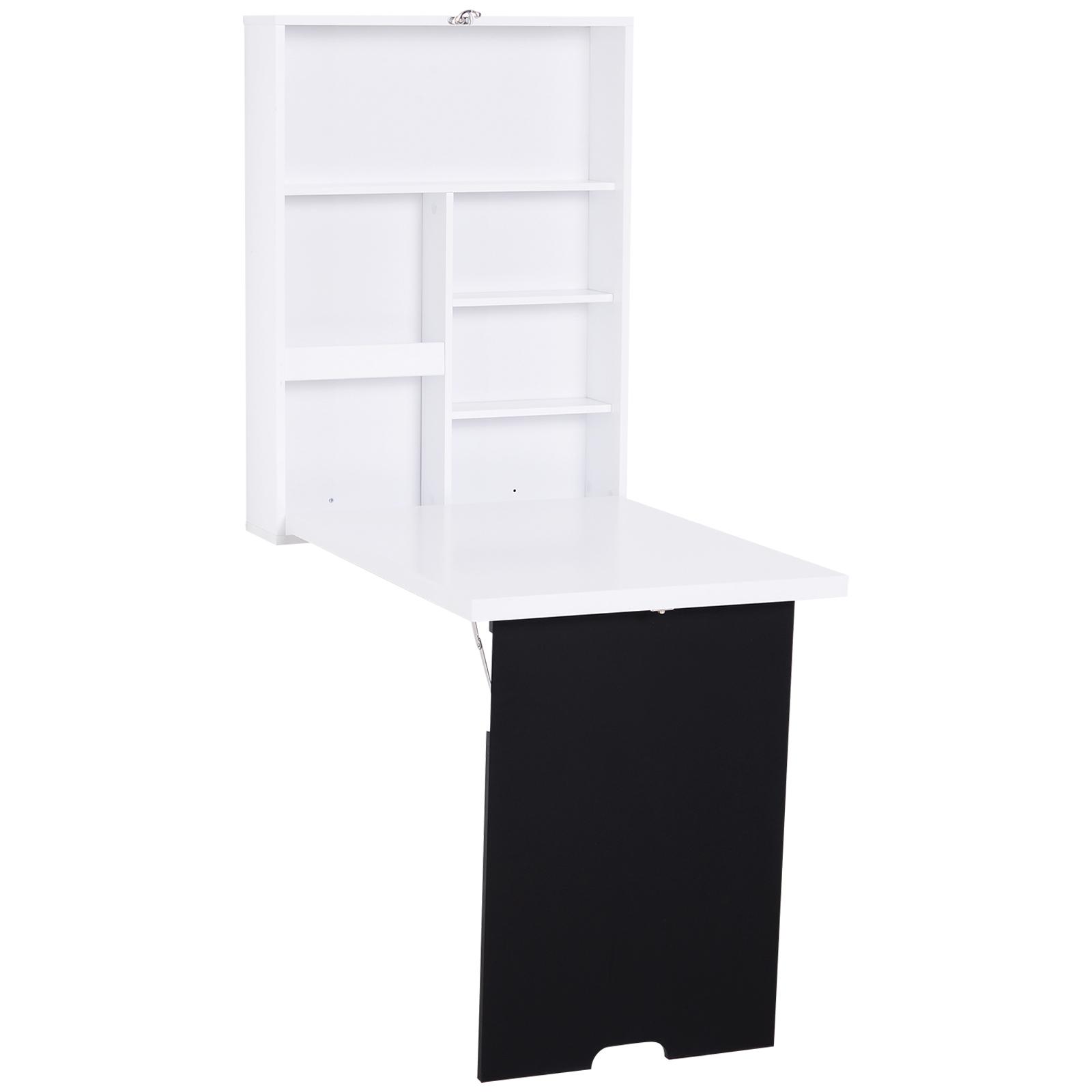 Homcom Bureau mural pliable table murale rabattable suspendue sur pied étagère + tableau à craie intégré MDF blanc