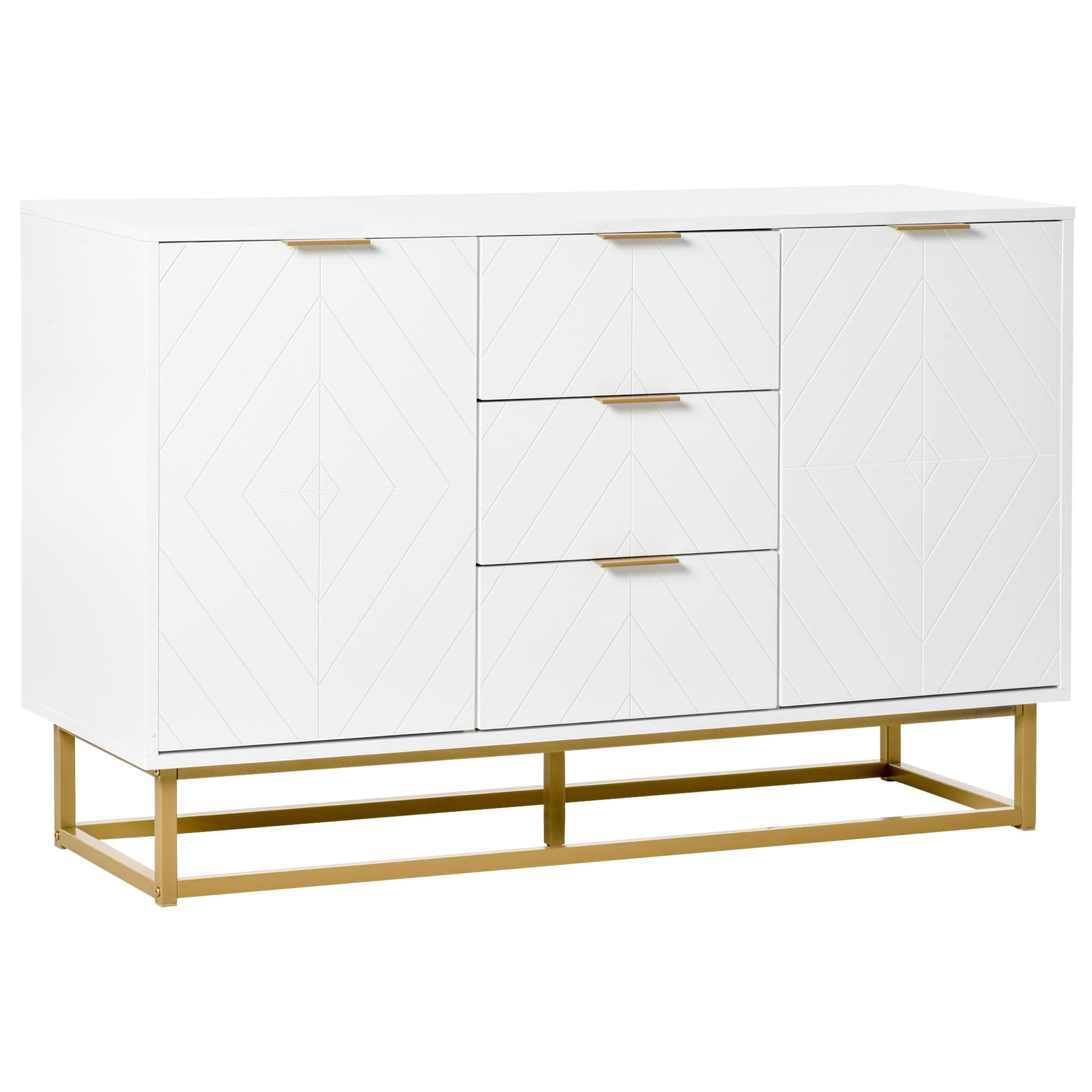 Buffet design contemporain graphique panneaux blanc métal doré