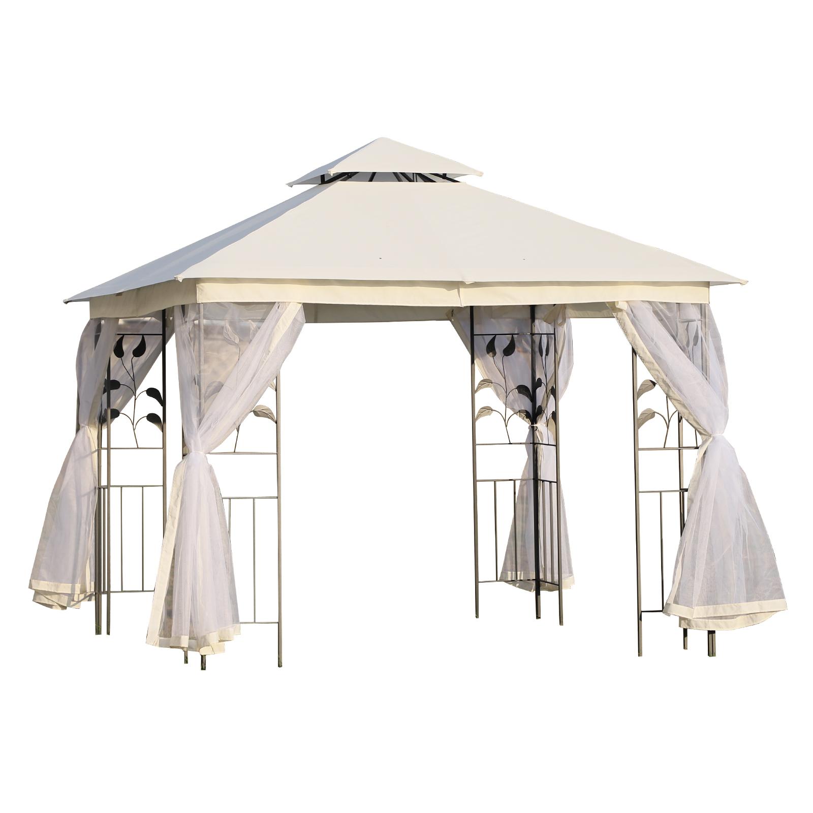 Outsunny Tonnelle barnum style colonial double toit toiles moustiquaires amovibles 3L x 3l x 2,65H m beige
