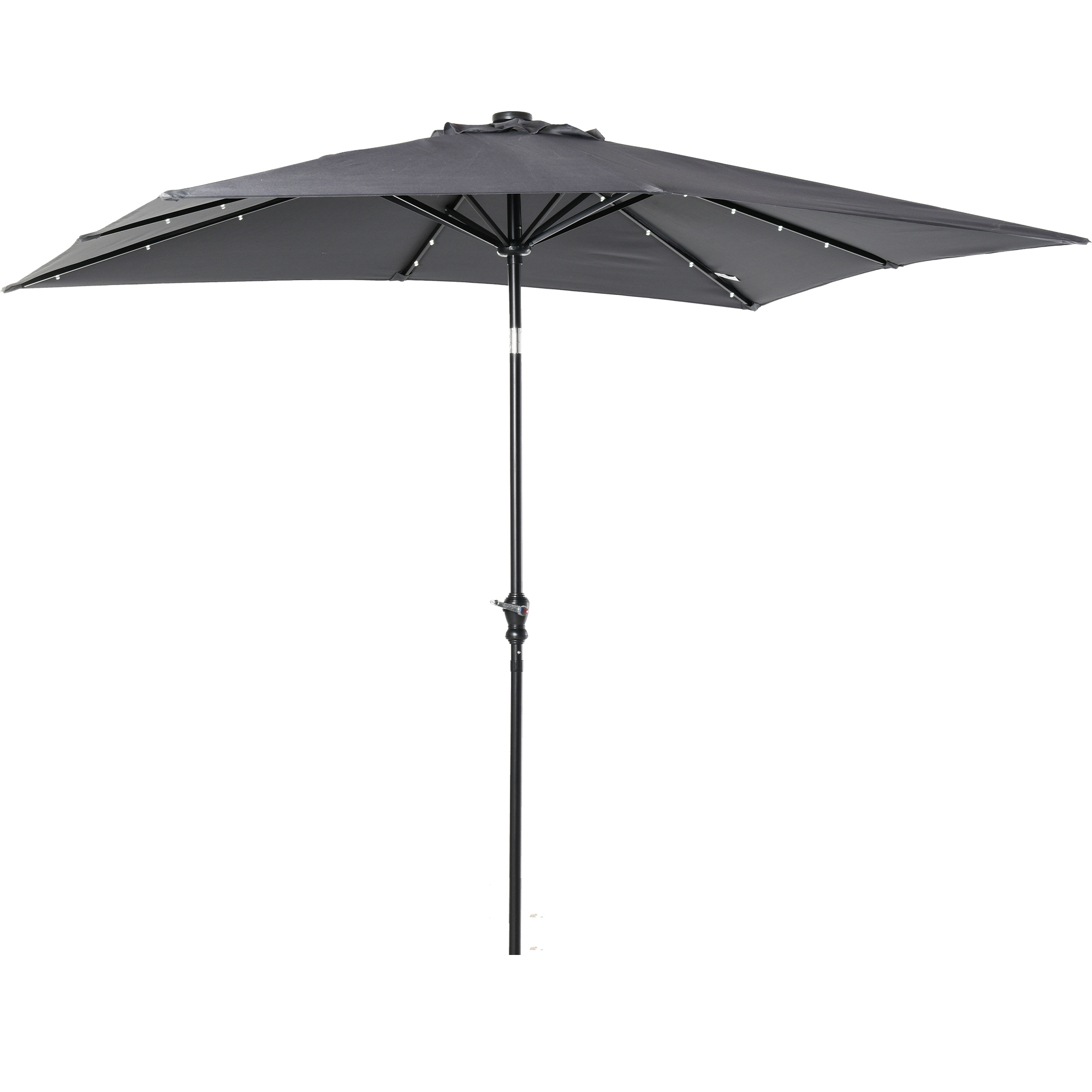 Parasol lumineux LED rectangulaire inclinable dim. 2,68L x 2,05l x 2,48H m