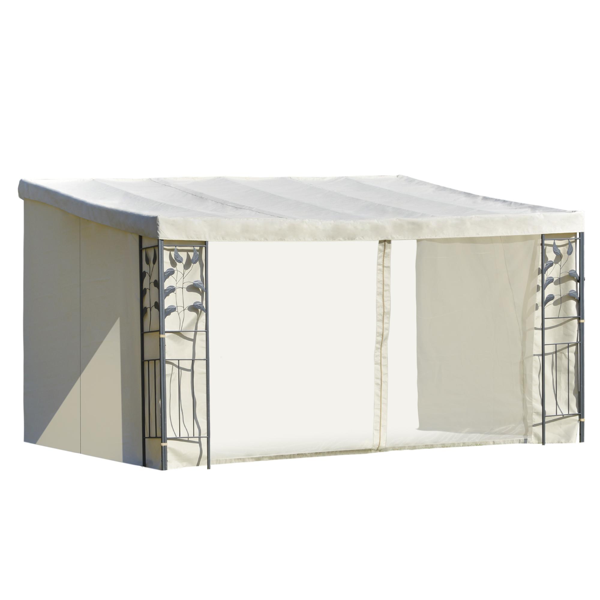 Pergola adossable polyester haute densité moustiquaires crème métal époxy gris