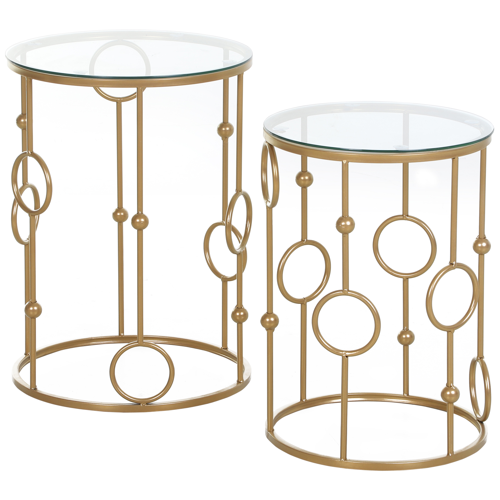 Tables gigognes lot de 2 tables basses design style art déco doré verre