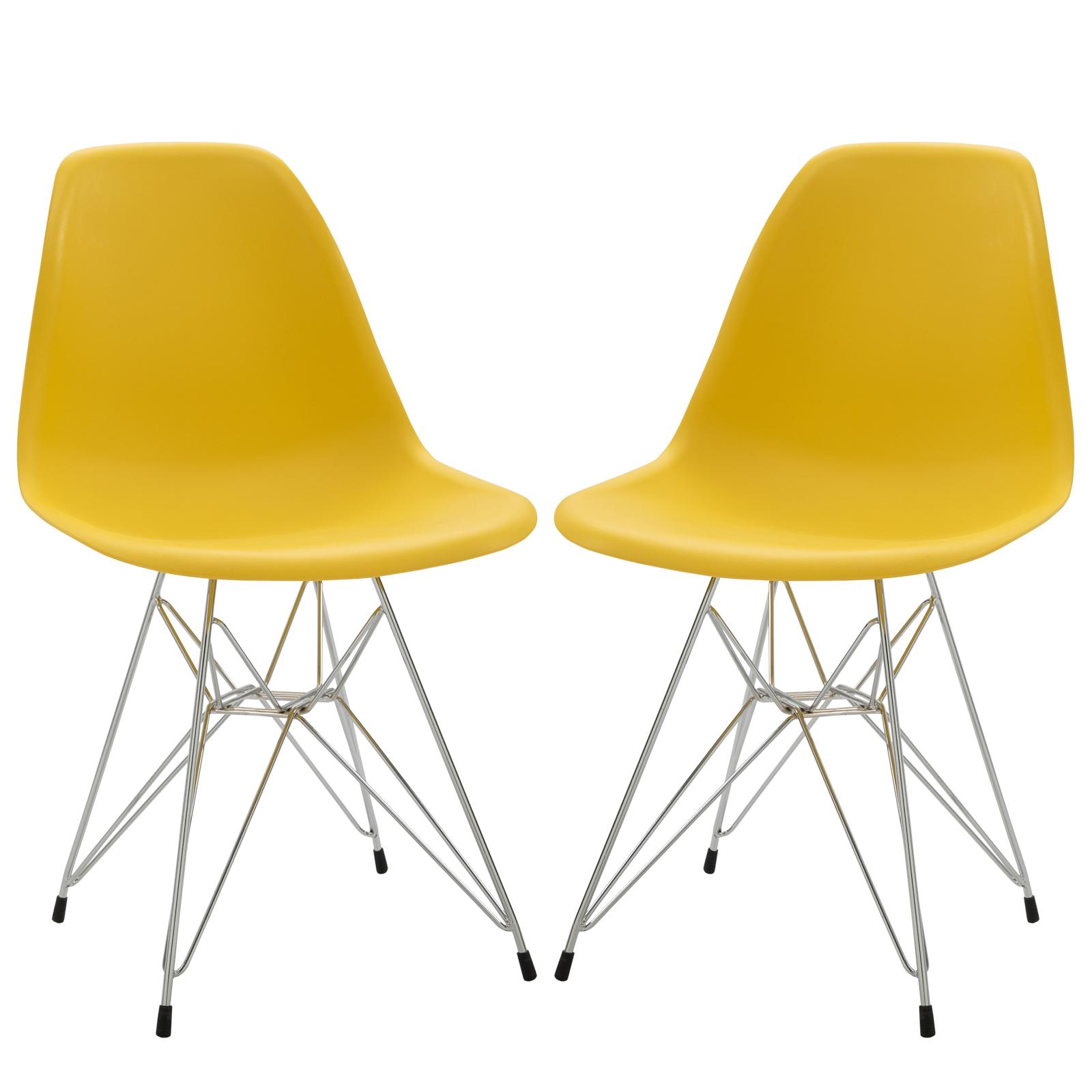 Lot de 2 chaises design néo-rétro Eiffel piètement métal assise dossier polypropylène