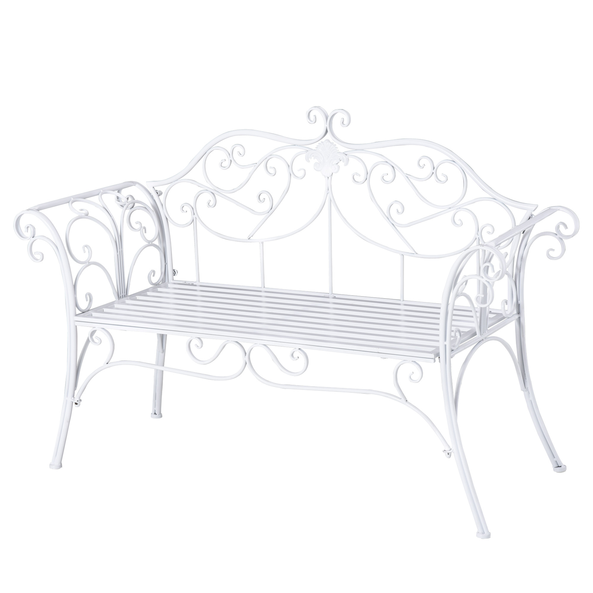 Banc de jardin 2 places style néo-rétro fer forgé motif fleur de lys blanc
