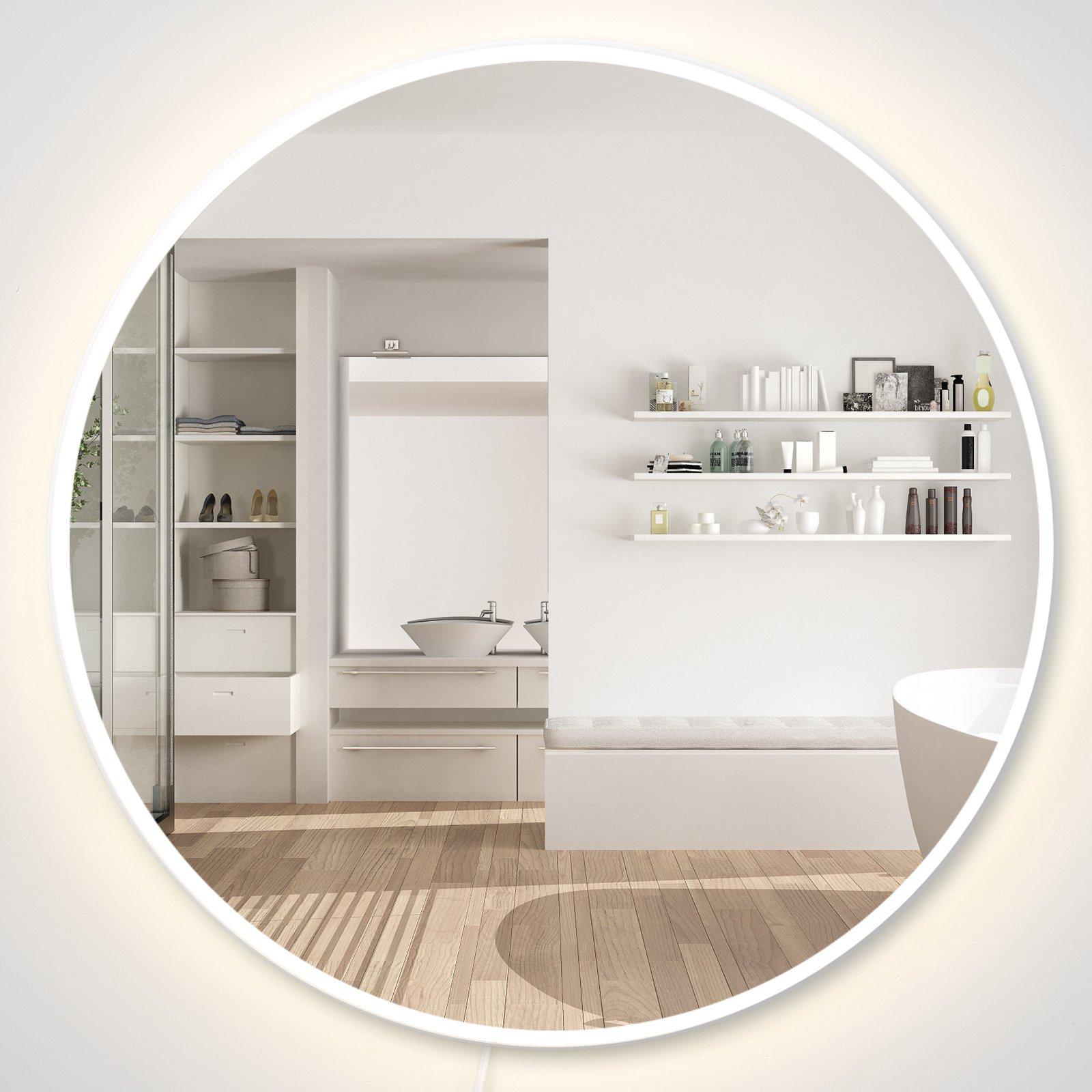 Homcom Miroir rond lumineux LED de salle de bain lumière ajustable 28 W bois gris