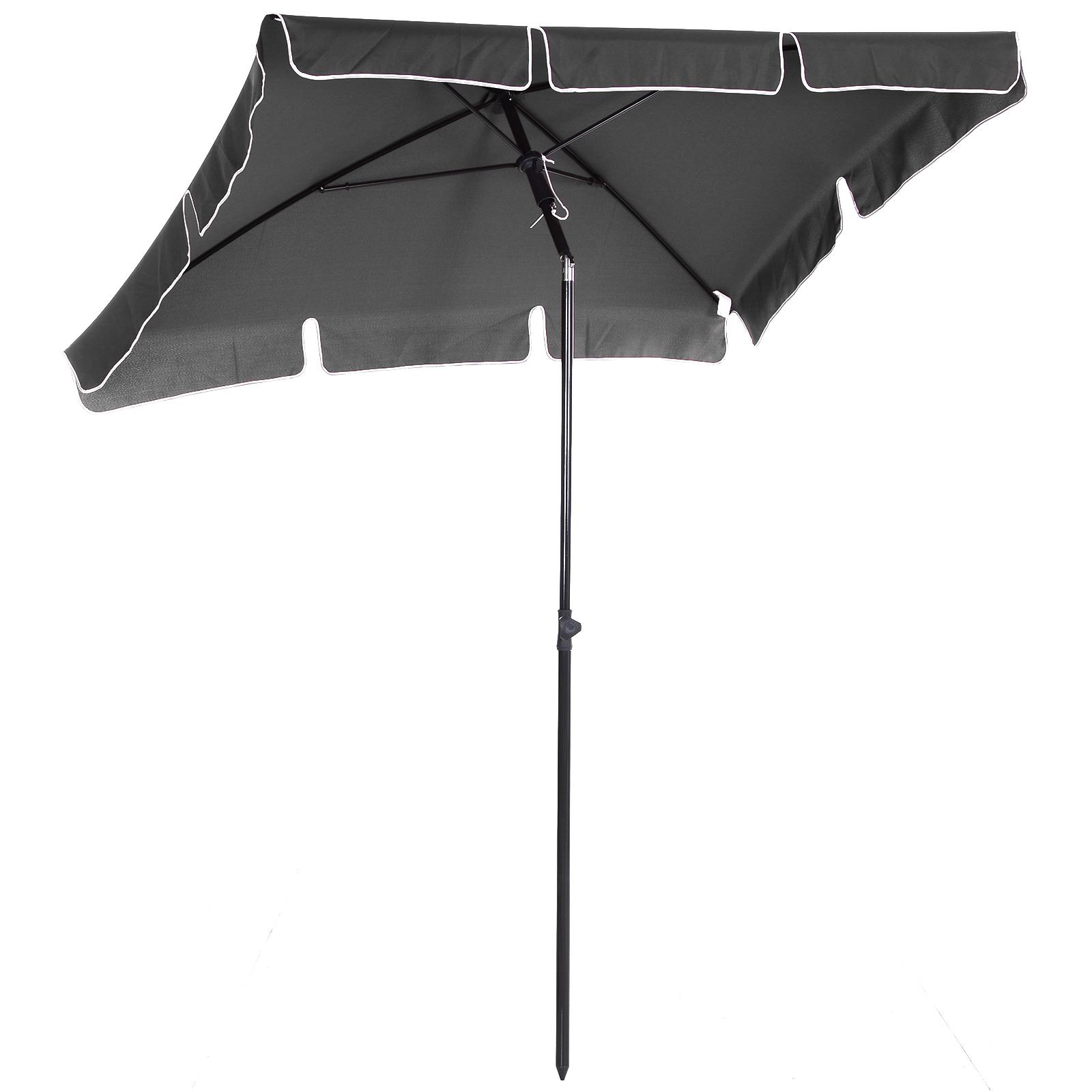 Outsunny Parasol rectangulaire inclinable alu acier polyester haute densité diamètre 2 m gris