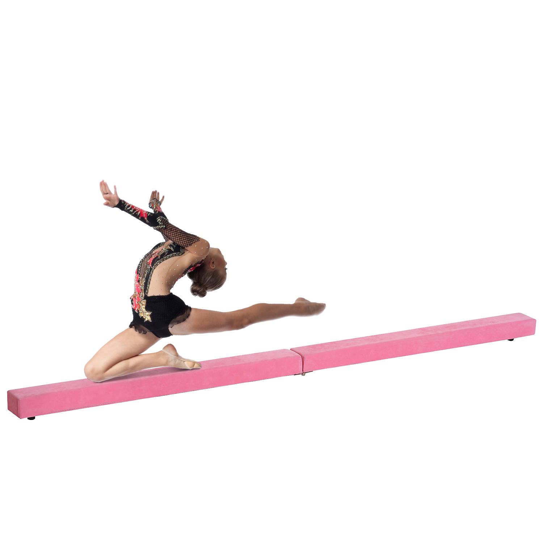 Homcom Poutre de Gymnastique Pliable Rose 240 x 10 x 7 cm