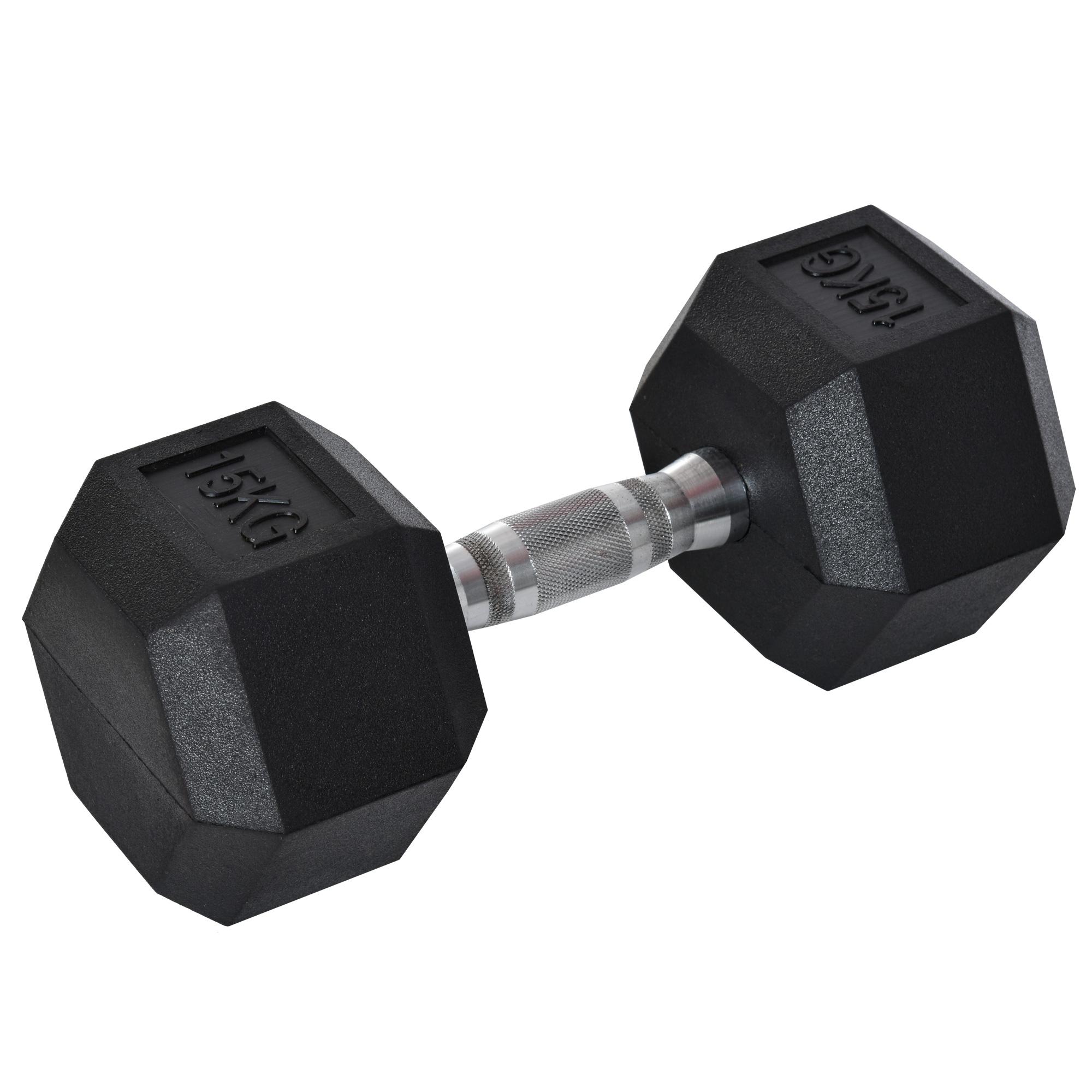 Haltère courte poids 15 Kg - acier caoutchouc noir