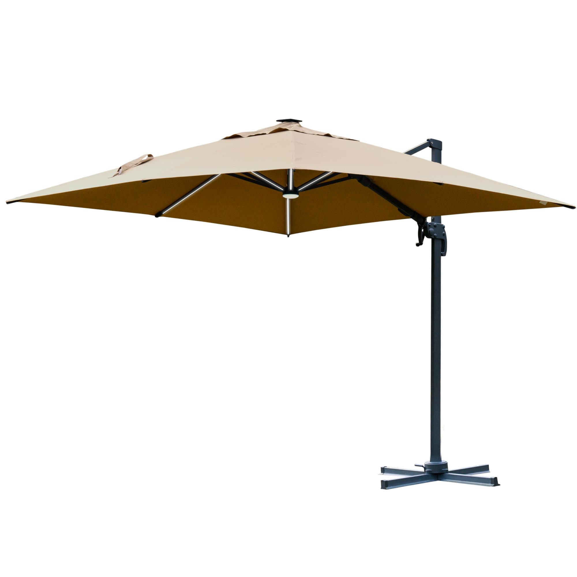 Parasol déporté LED carré inclinable pivotant 360°