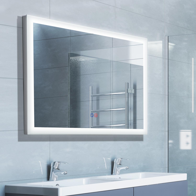 Image of €135,08 kleankin Miroir Lumineux LED Salle de Bain 30,3 W Fonction Antibuée Interrupteurs Tactiles Cadre Alu 80 x 5 60 cm / Homcom 30 80L 5l 60H 33 834-133 3662970025055