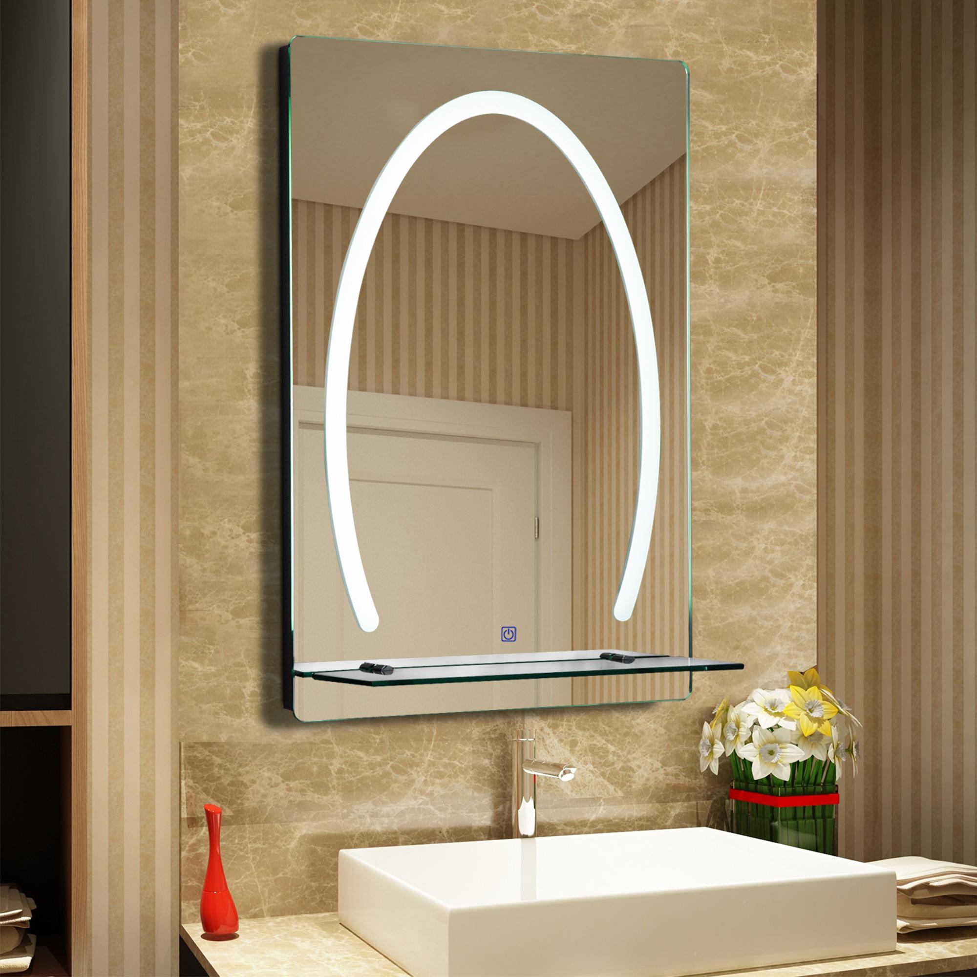 Image of €77,90 kleankin Miroir Lumineux LED Salle de Bain 30 W Interrupteur Tactile Etagère Aluminium 50 x 70 cm / Homcom étagère intégrée 50L 4l 70H 834-139 3662970030073