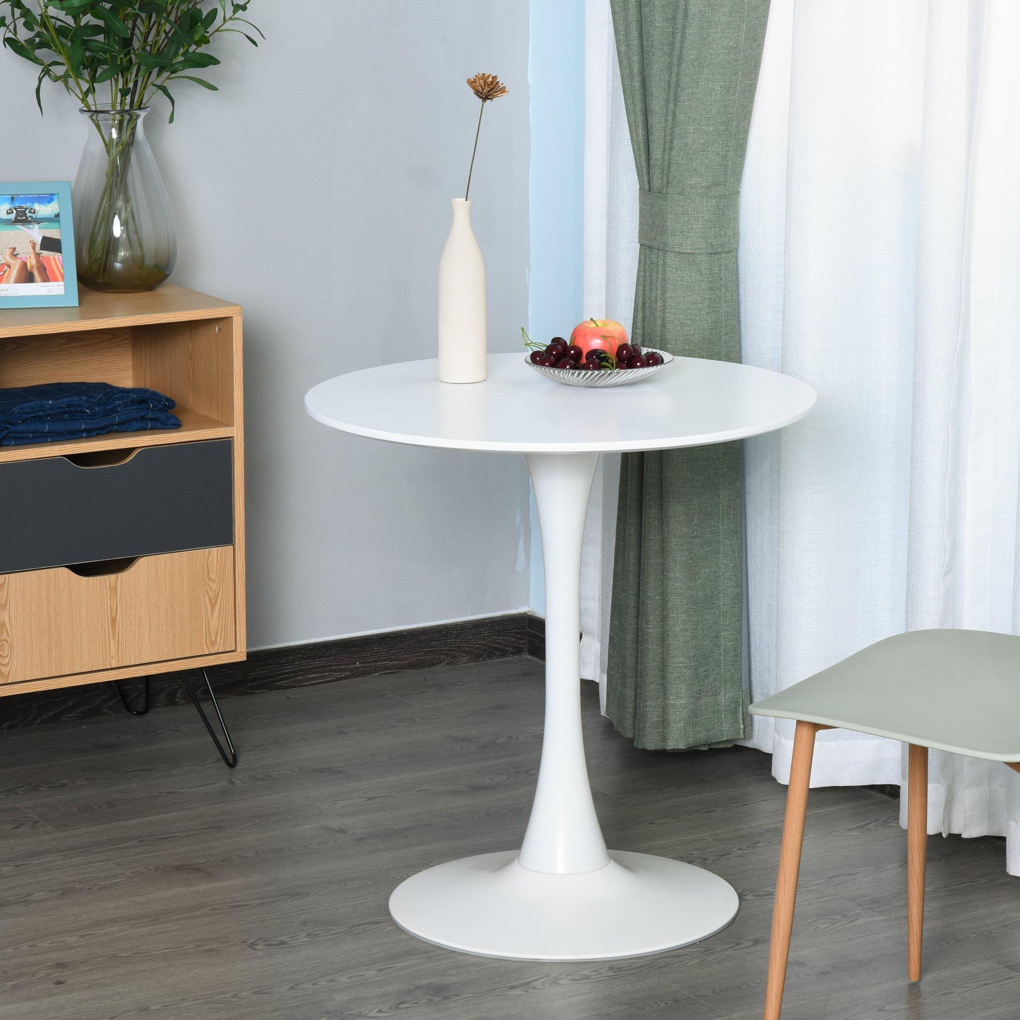 Table ronde tulipe design Ø 60 x 73H cm métal MDF blanc