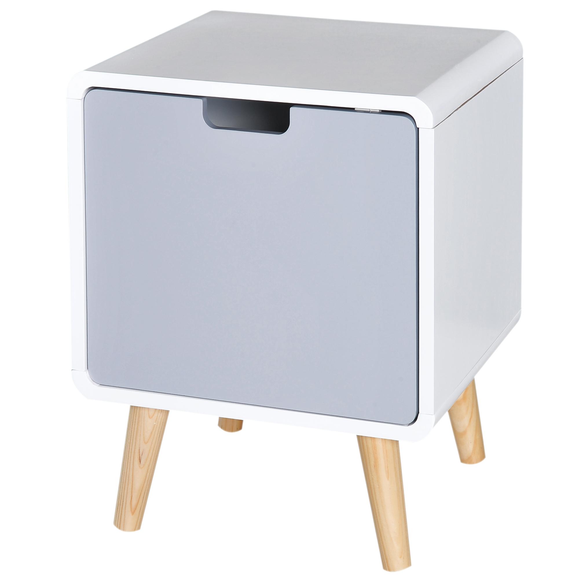 Chevet design scandinave avec placard MDF blanc bleu gris