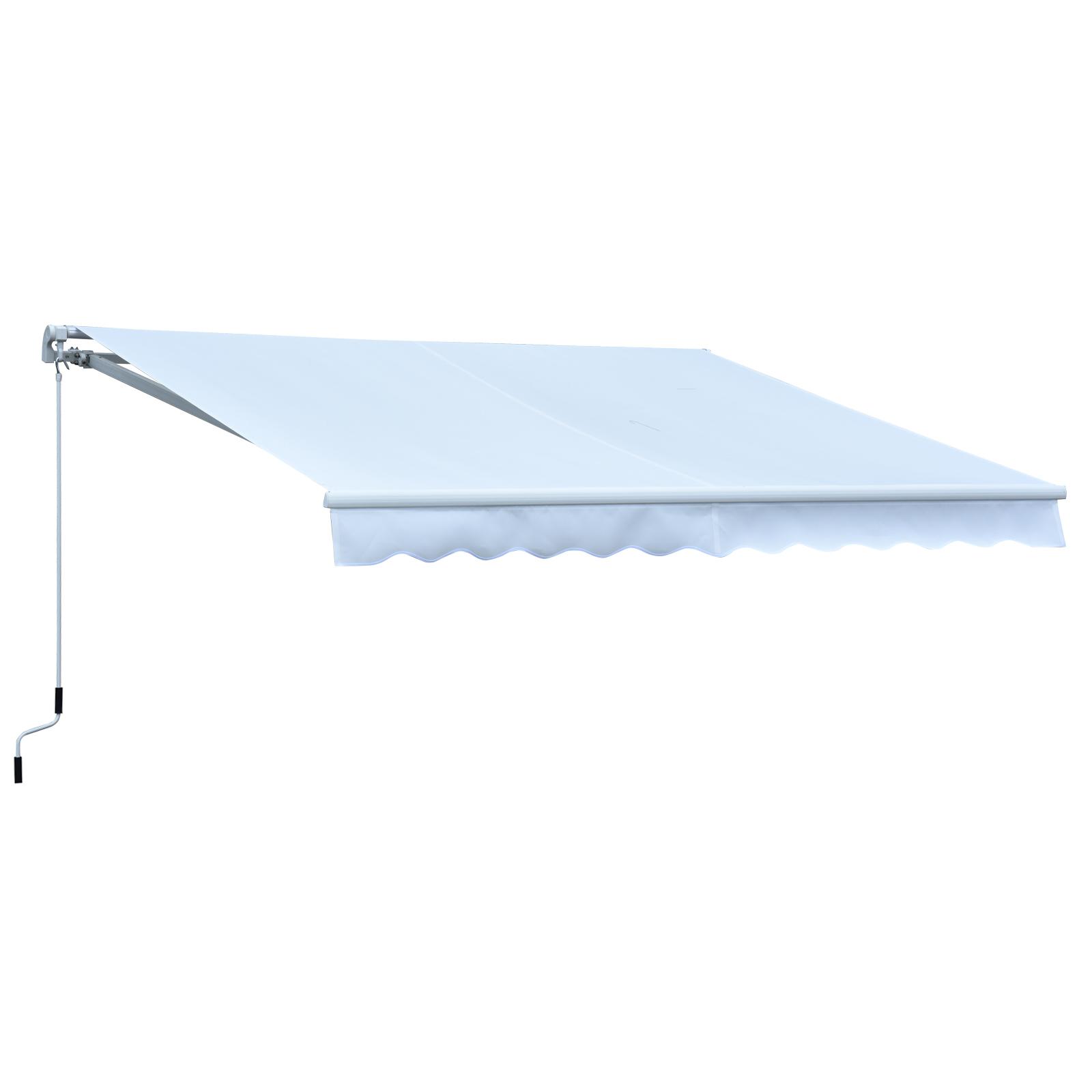 Outsunny Store banne manuel rétractable alu. polyester imperméabilisé haute densité 3,95L x 3l m blanc