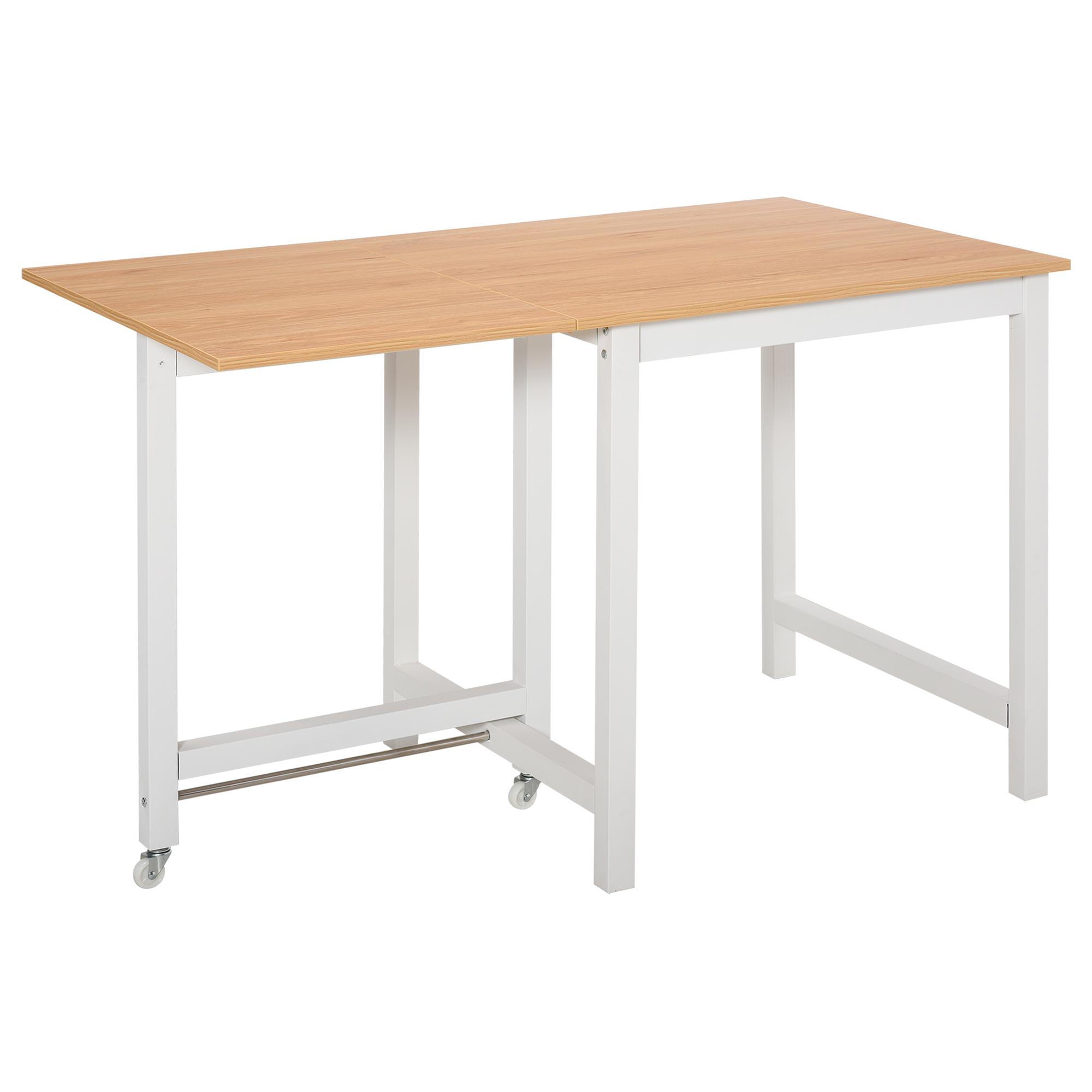 Table à manger 4 personnes avec rallonge bois clair veinage blanc