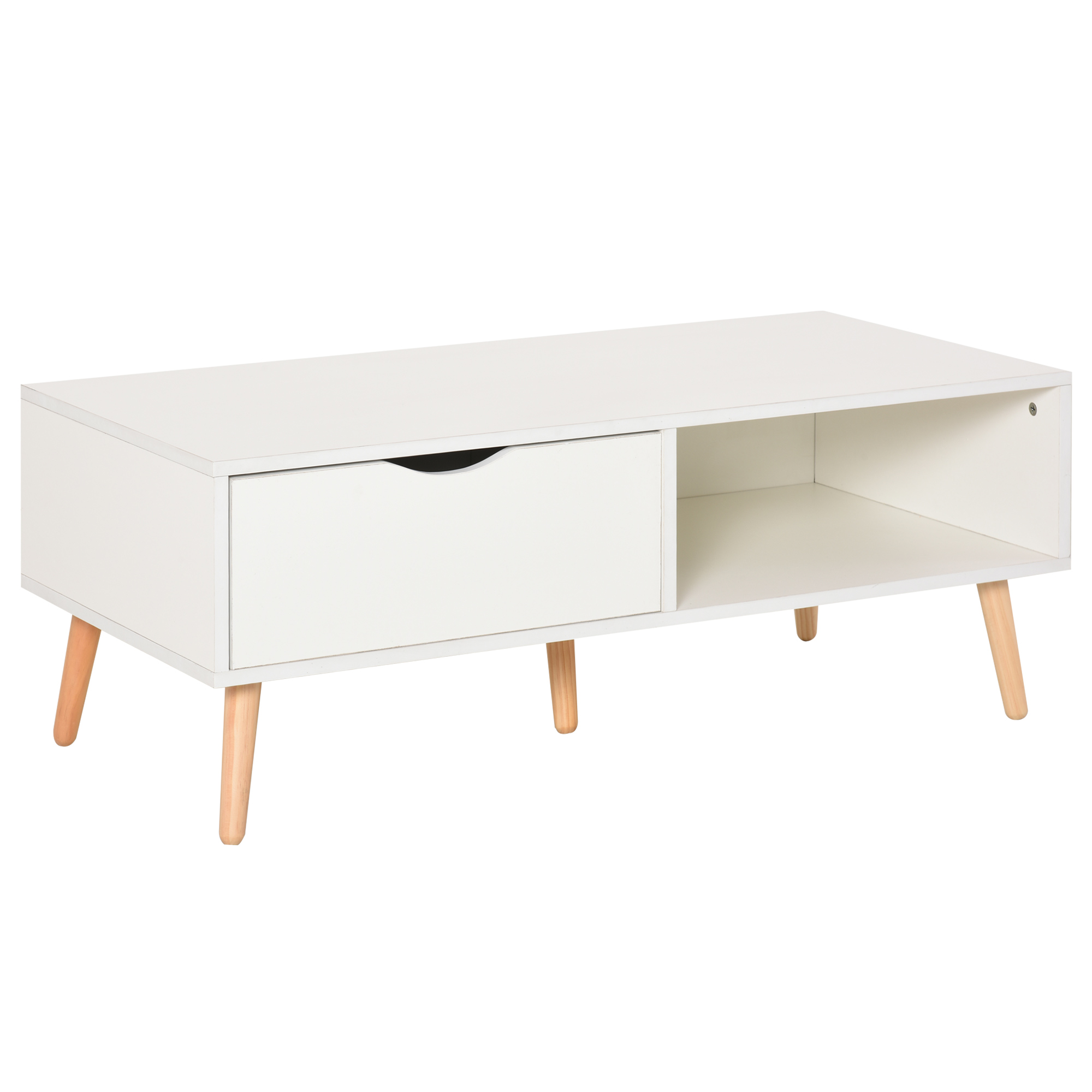 Table basse rectangulaire style scandinave blanc