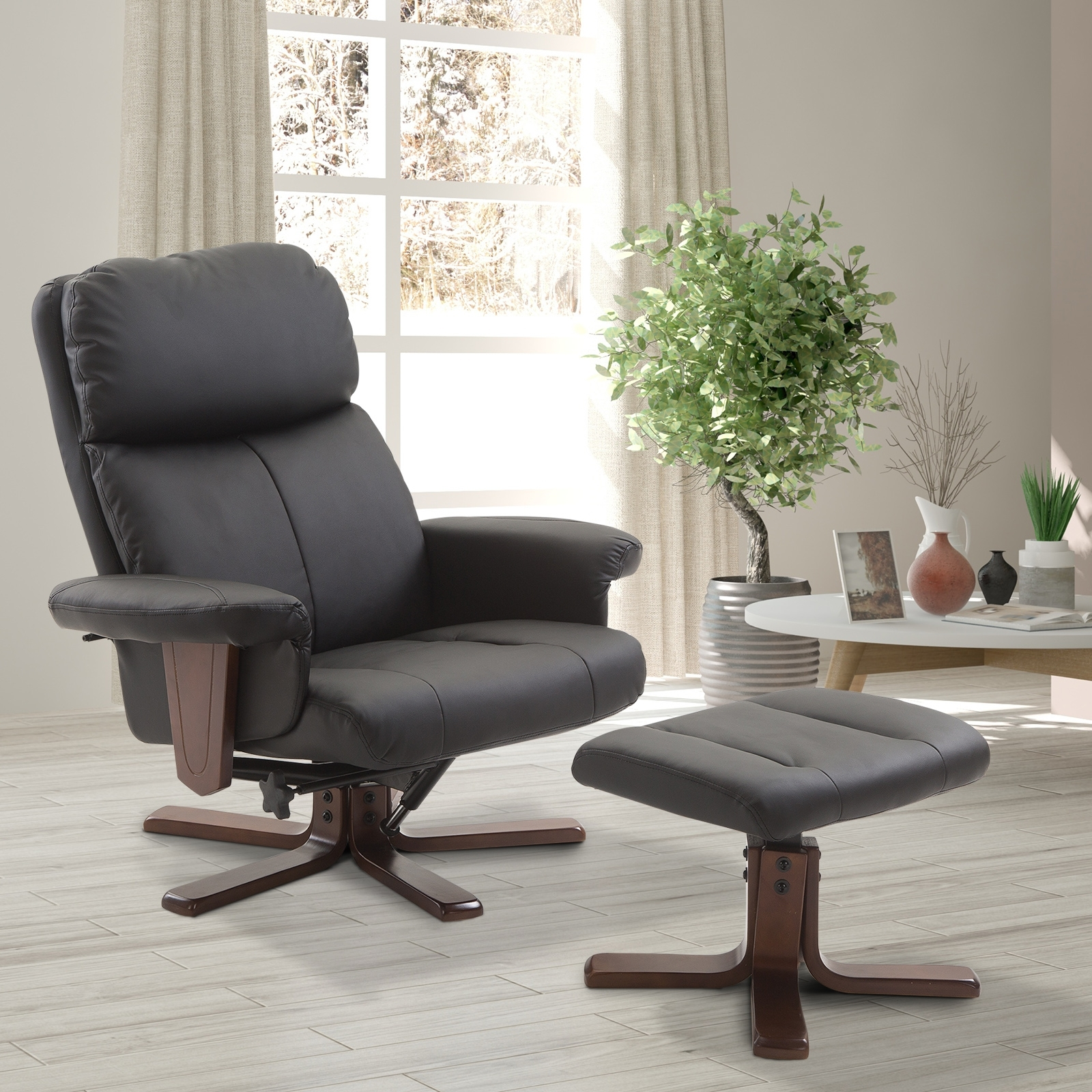 EUR199,90 Homcom Fauteuil Relax Style Contemporain Grand Confort inclinable pivotant  Repose-Pieds intégré Bois Simili Cuir Noir   avec Repose-Pied à 360° ... b115f10a52c2