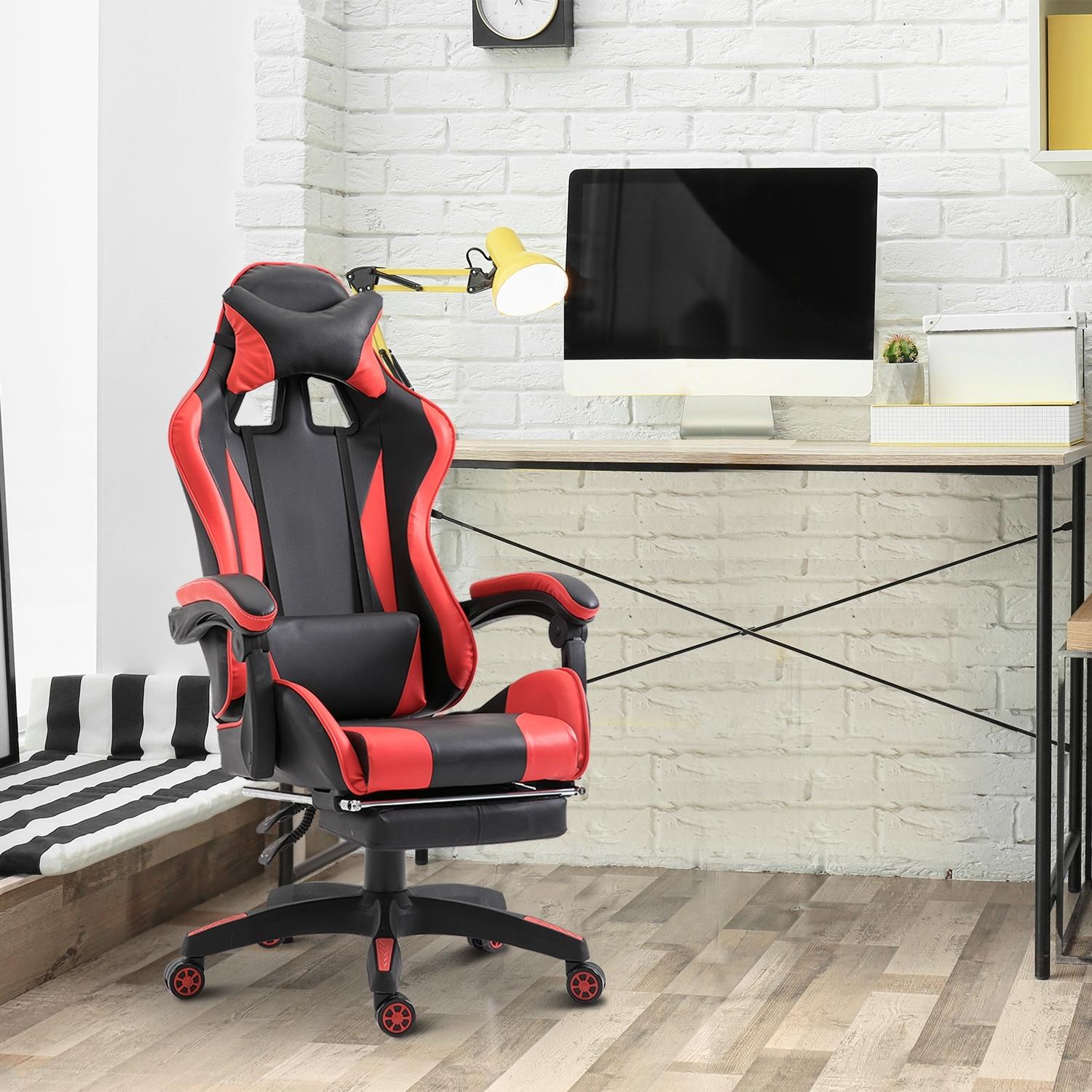 Image of €139,90 Vinsetto Fauteuil de Bureau Chaise Gamer Racing Sport Hauteur Réglable Inclinable Repose-Pied Coussins Similicuir Rouge Noir / Homcom 66 L x 60 127-134 H cm et Design Ergonomique Gaming 921-118 3662970029848