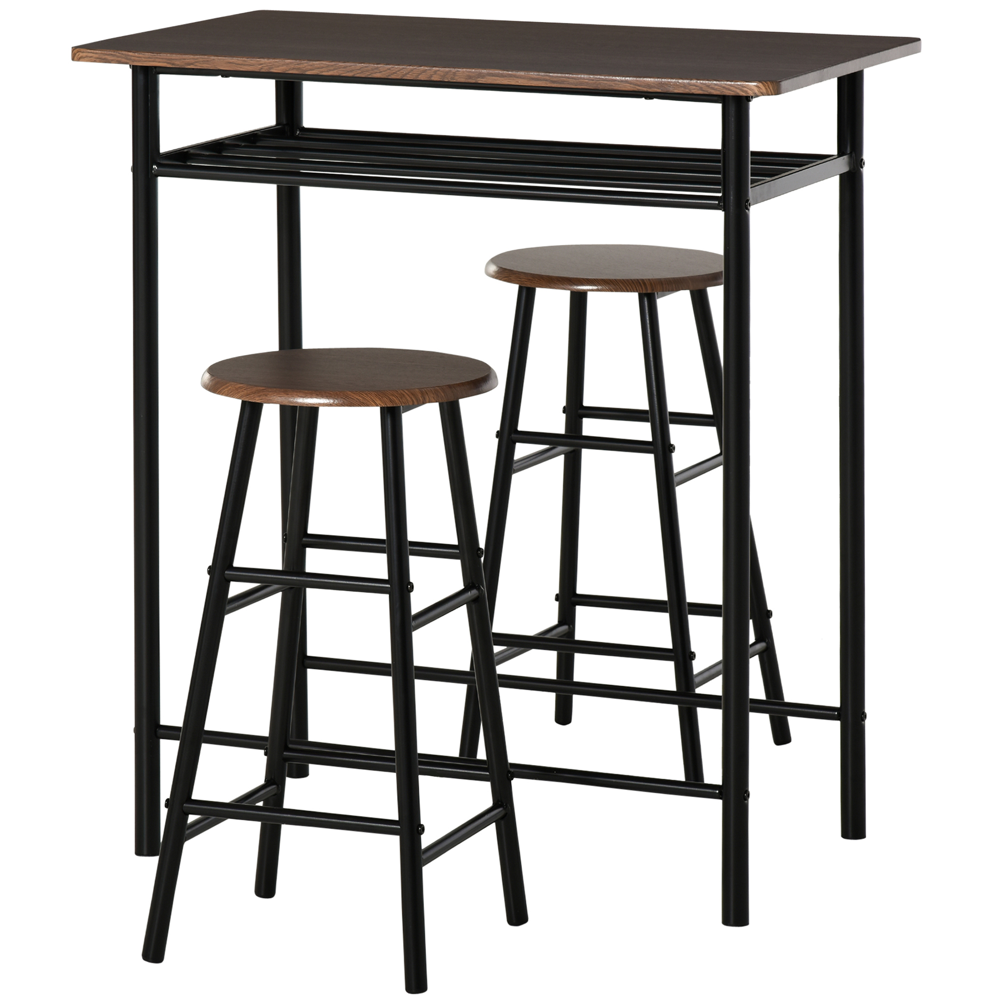 Ensemble table de bar design industriel + 2 tabourets MDF imitation bois noyer métal noir
