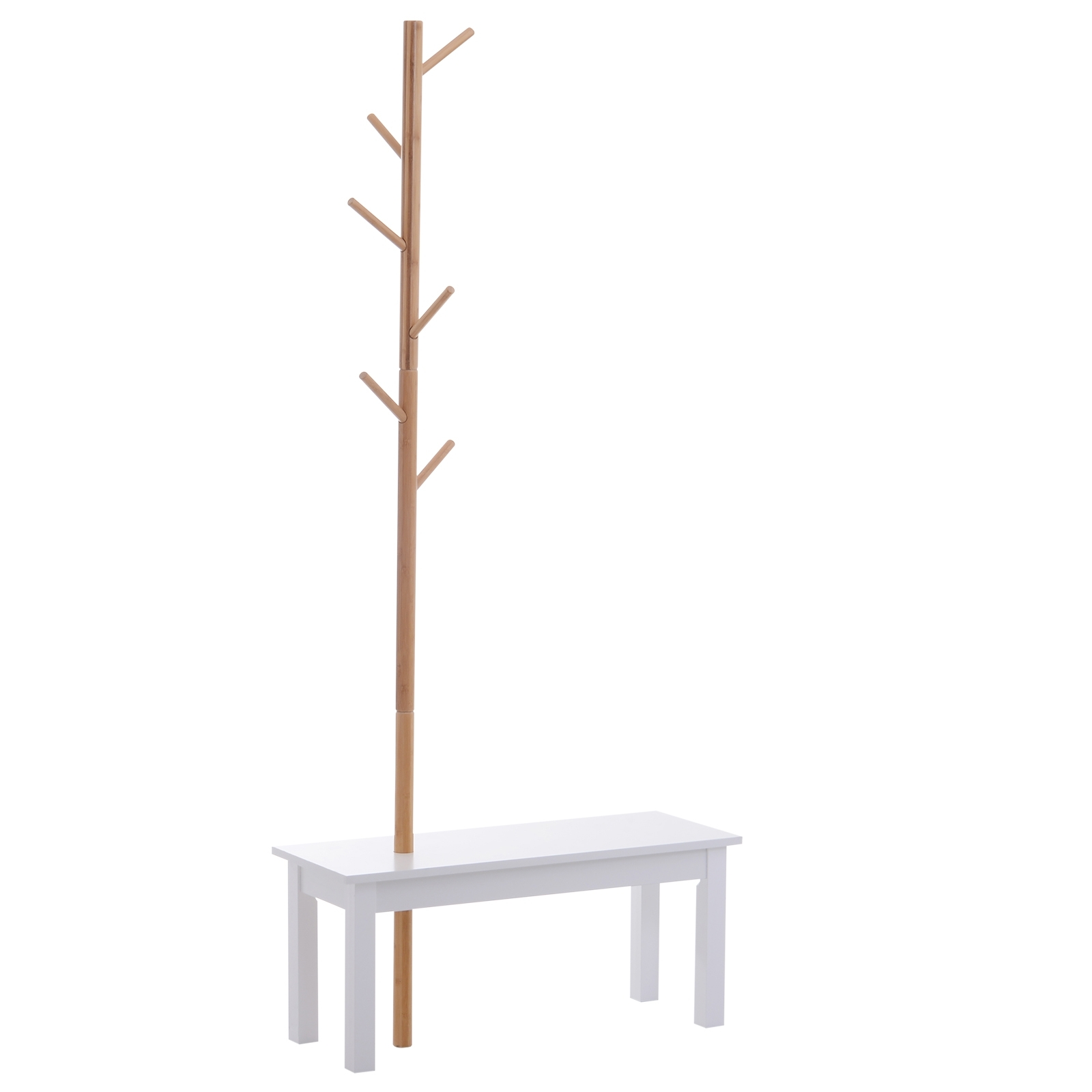 Homcom Banc Porte-Manteaux Design Cosy en MDF Bambou 80 x 30 x 180 cm