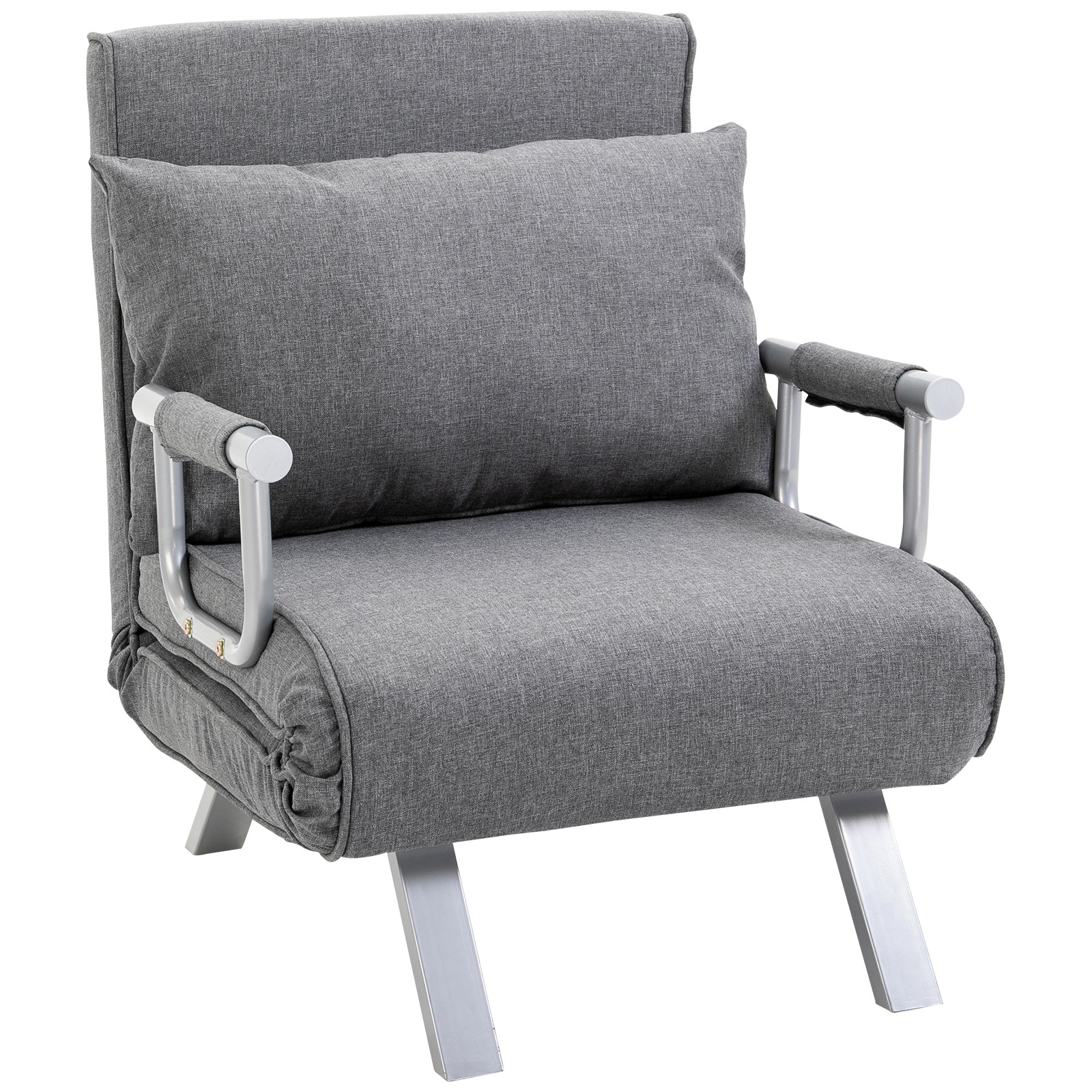 Fauteuil chauffeuse canapé-lit convertible inclinable lin gris clair