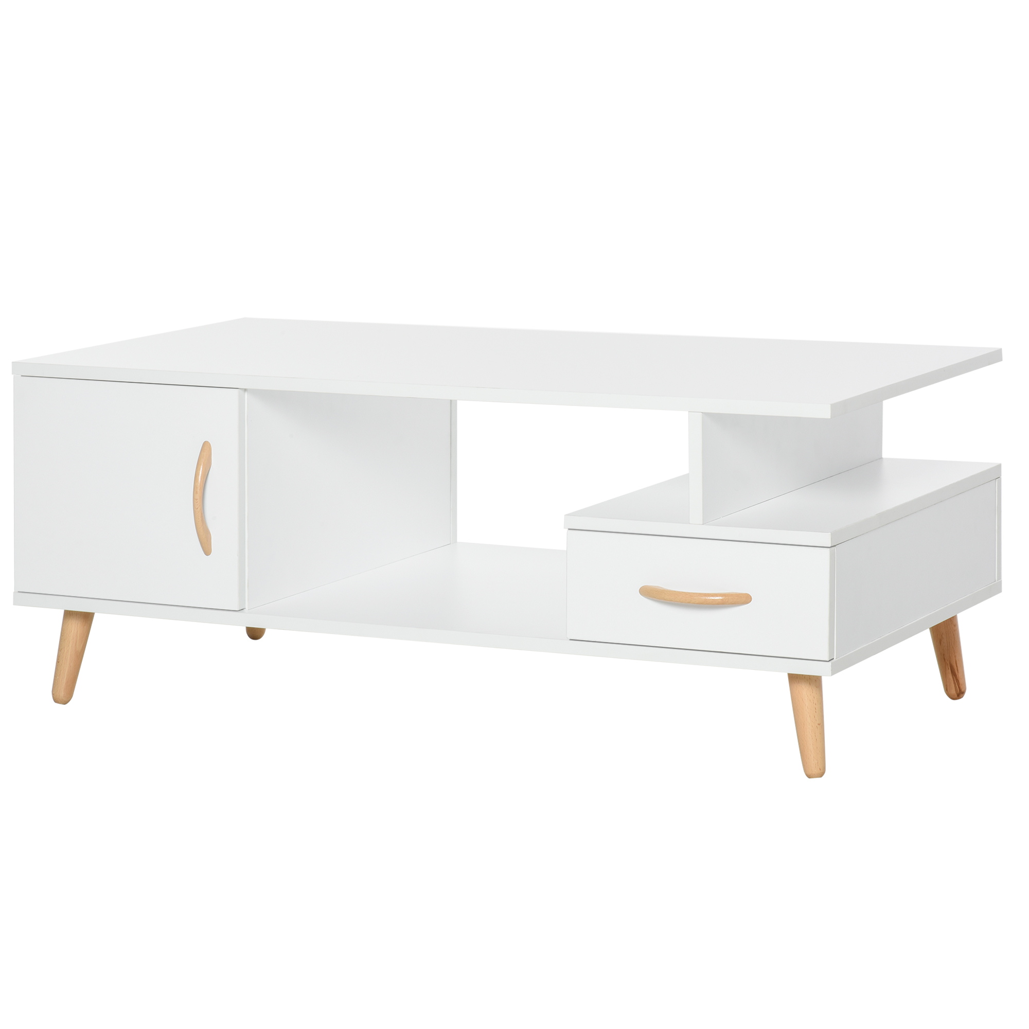 Table basse rectangulaire design scandinave blanc