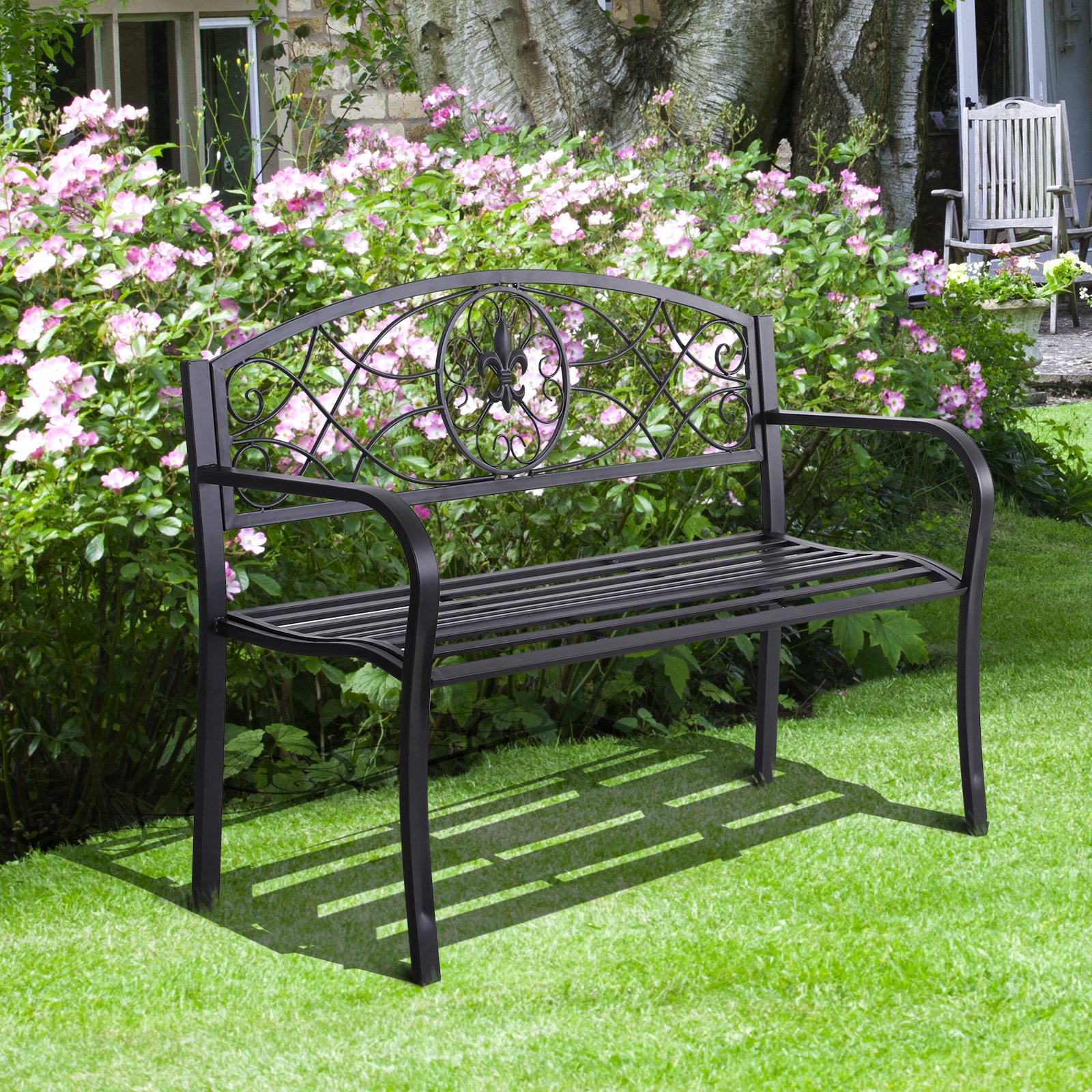 Outsunny Banc de jardin 3 places style néo-rétro fer forgé motif fleurs de lys dim. 128L x 50l x 91H cm métal époxy noir