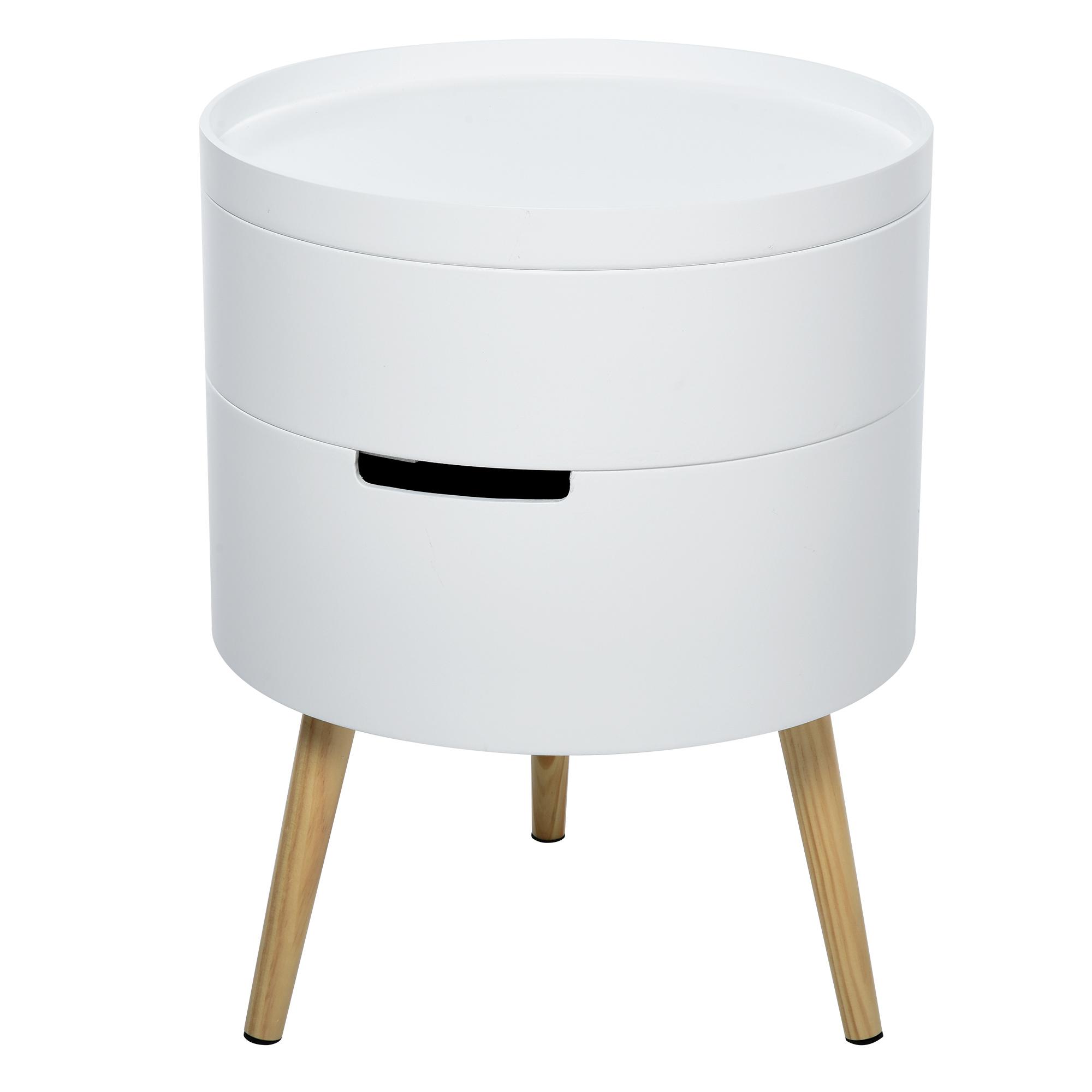 Table de chevet - table basse avec 2 compartiments de rangement blanc