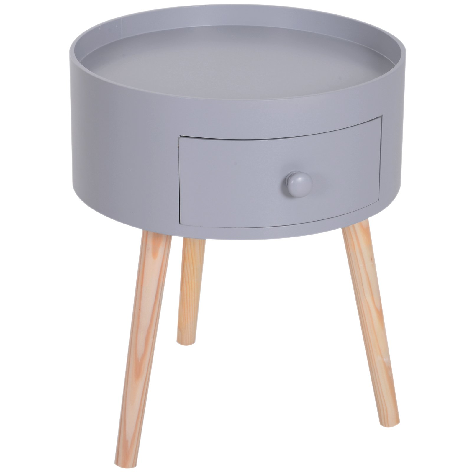 Homcom Table de Chevet Ronde Style Scandinave Gris 38 x 38 x 45 cm