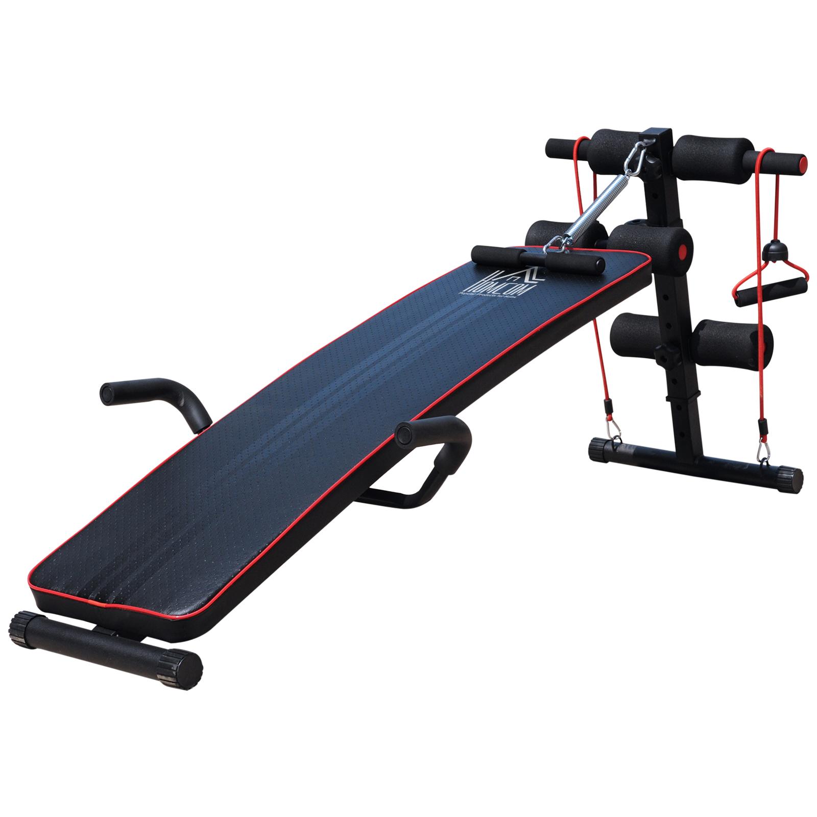 Homcom Banc de musculation appareil à abdo hauteur réglable 135L x 57l x 50-68H cm 2 bandes de résistances + ressort central traction acier noir rouge