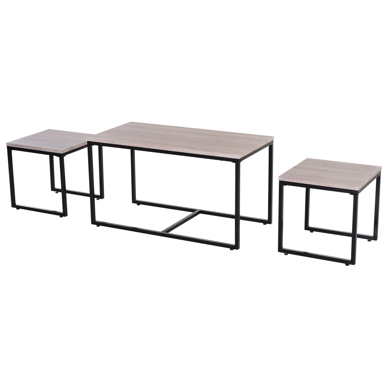 Homcom Lot de 3 tables basses gigognes design industriel encastrable dim. grande table 90L x 45l x 50H cm métal noir MDF chêne clair