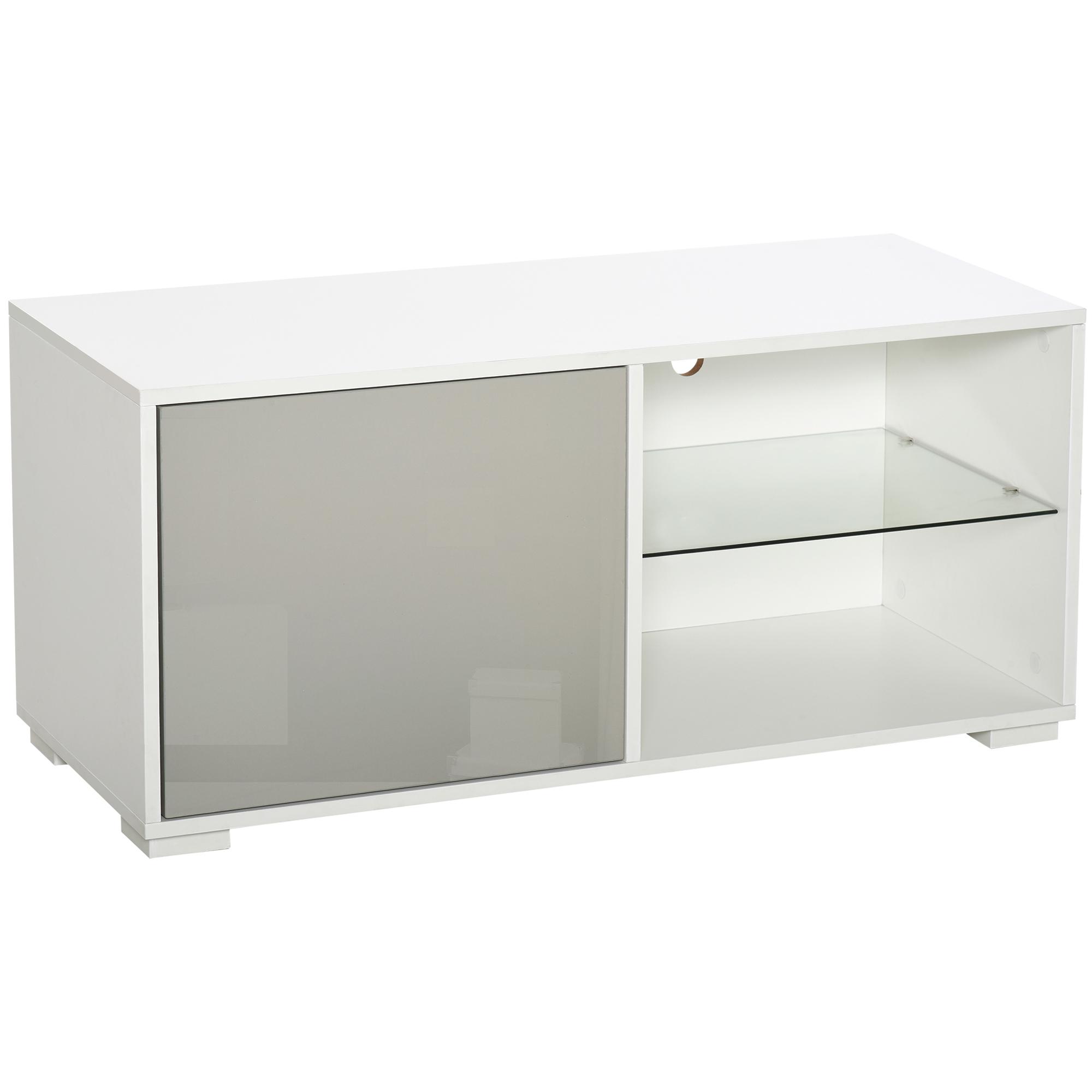 Meuble TV design 2 niches étagère verre + placard porte blanc gris