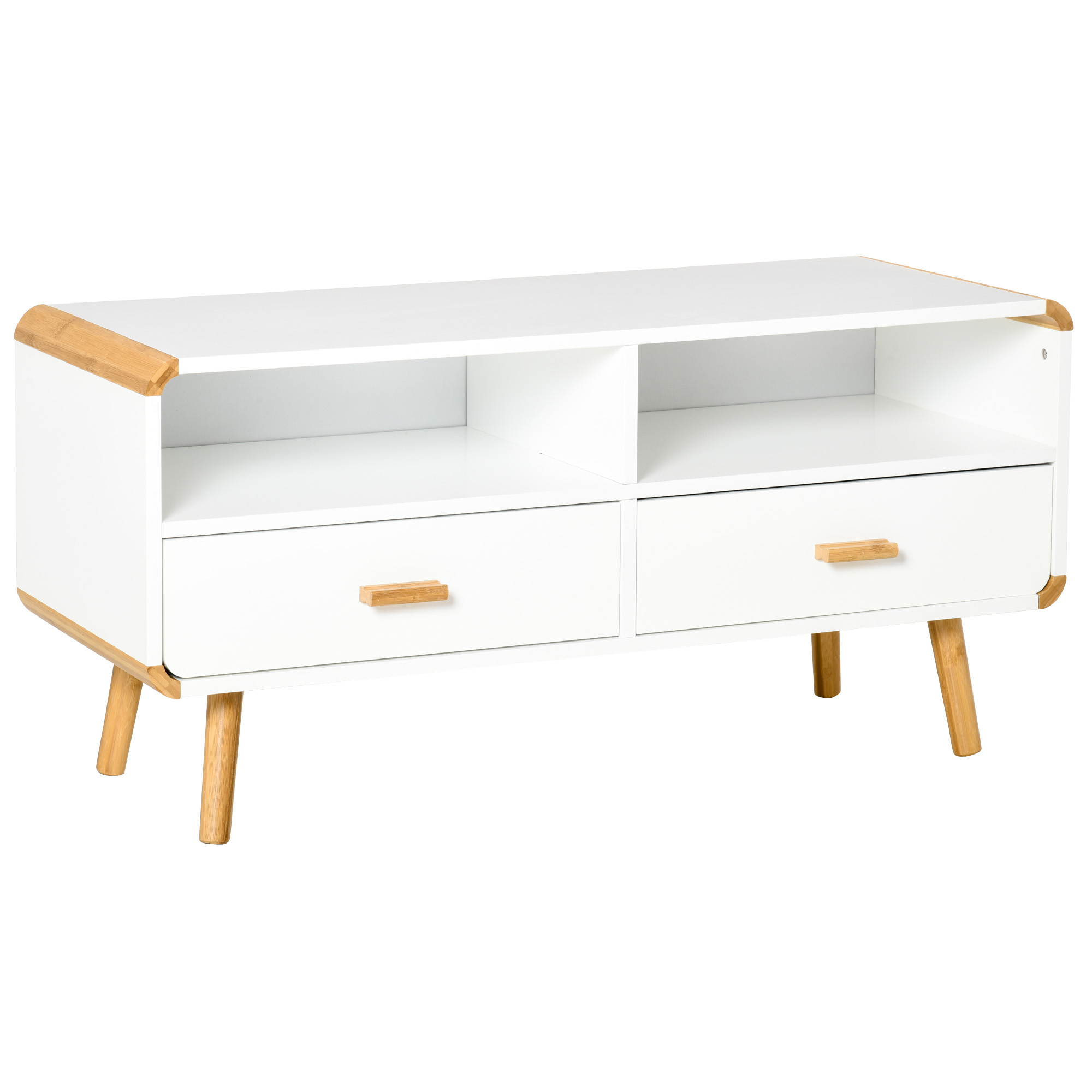 Meuble TV bas sur pieds style scandinave 2 niches 2 tiroirs MDF blanc bois massif bambou