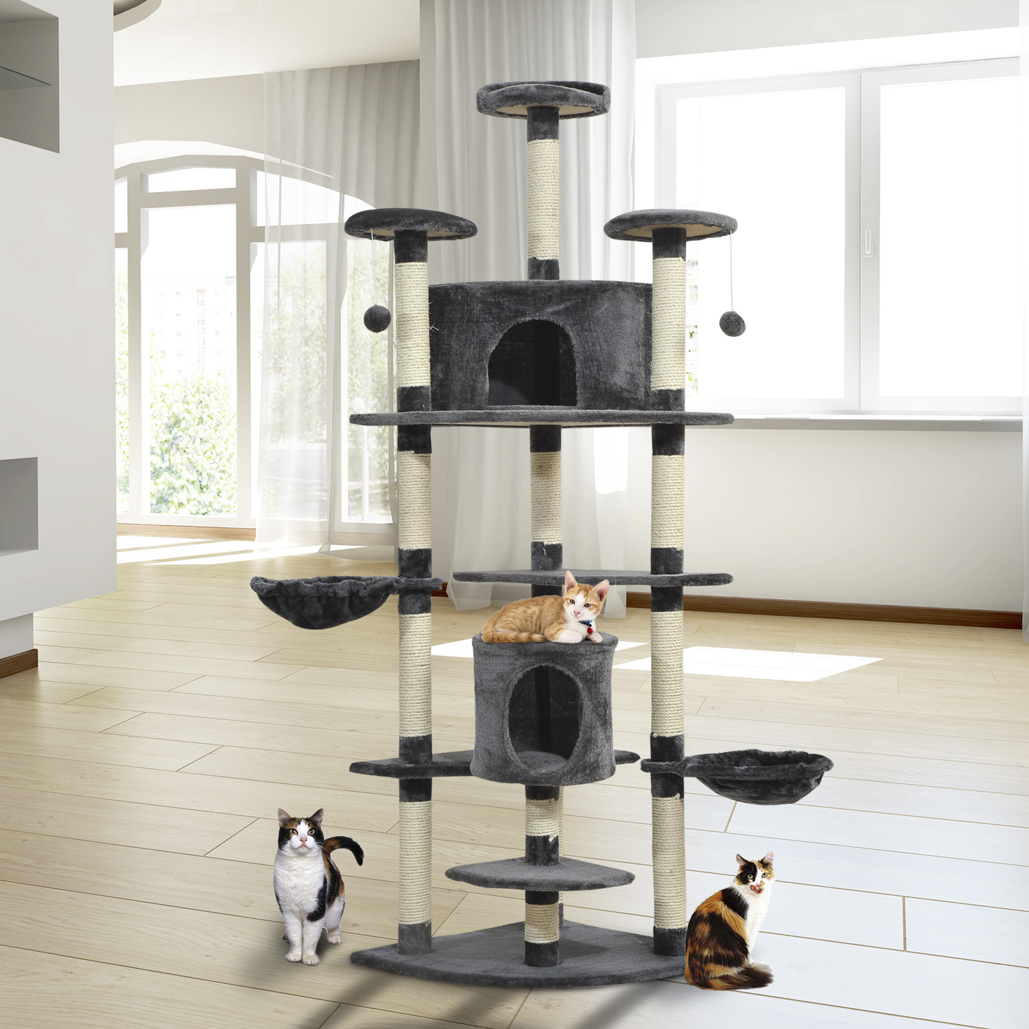 Image of €69,90 PawHut Arbre à Chat Griffoir Deux Niches 60X60X200 cm Gris et Beige / grattoir jouets animaux peluché D30-023 3662970008188