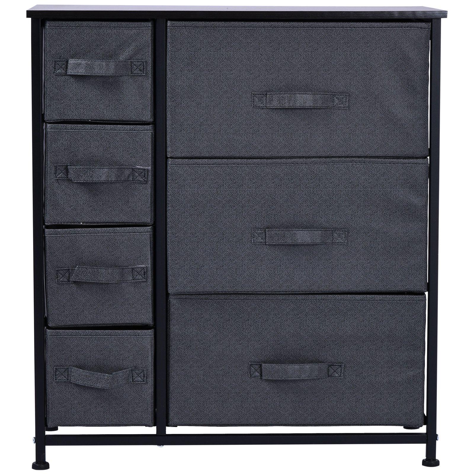Homcom Meuble de rangement commode design 64L x 30l x 71H cm 7 tiroirs métal MDF non tissé noir