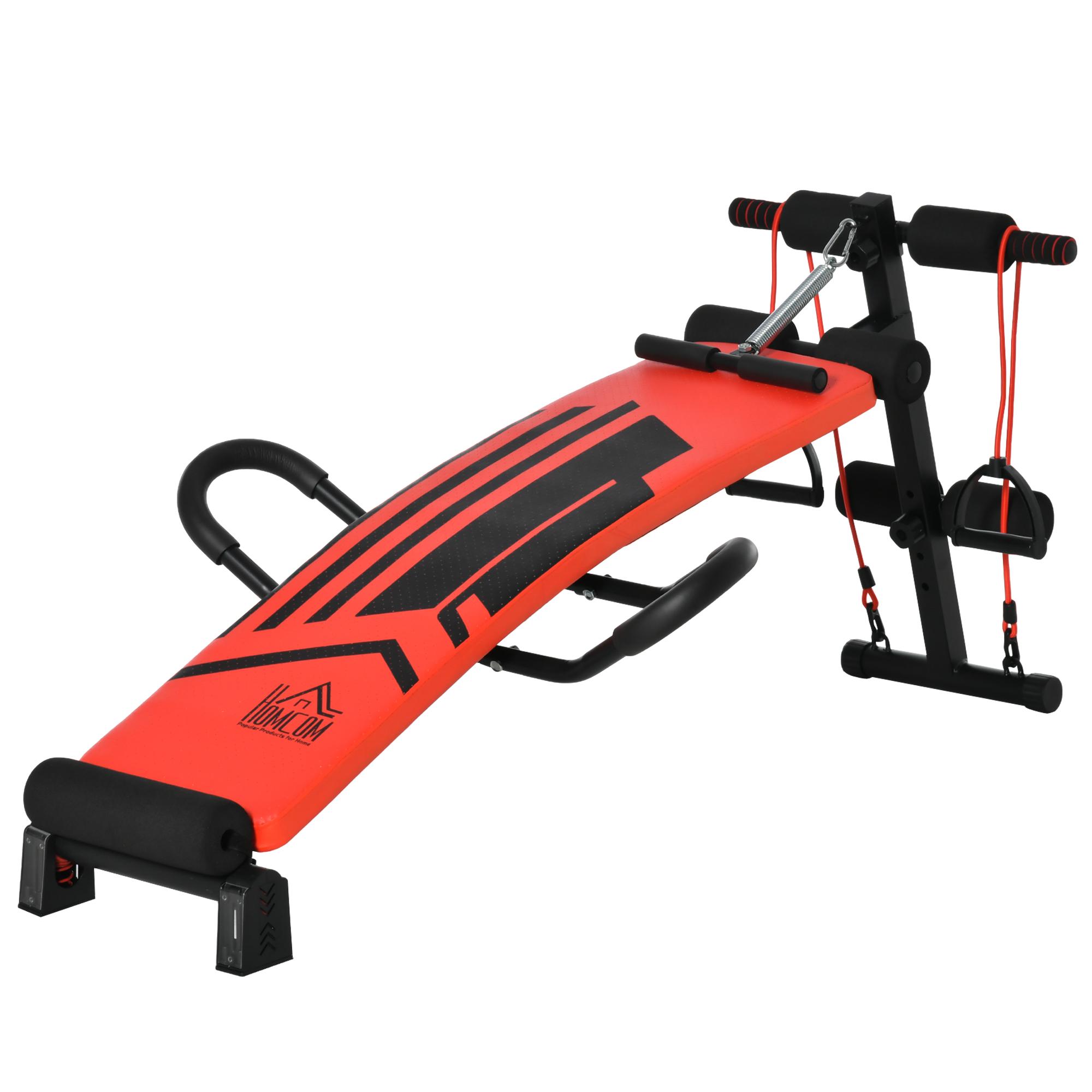 Banc de musculation entrainement complet acier PU rouge noir