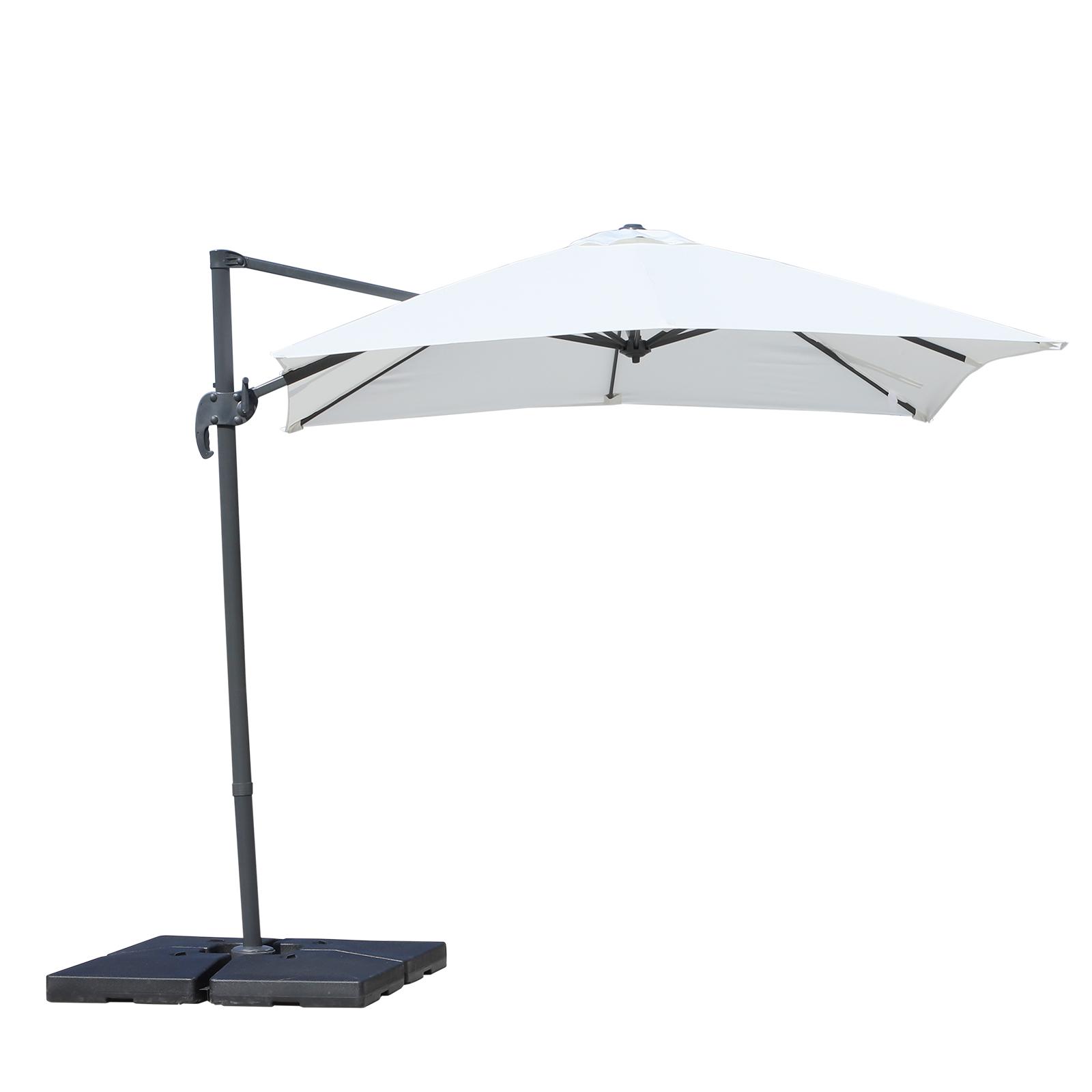 Outsunny Parasol déporté carré inclinable manivelle avec pied en acier dim. 2,45L x 2,45l x 2,48H m alu. polyester haute densité crème