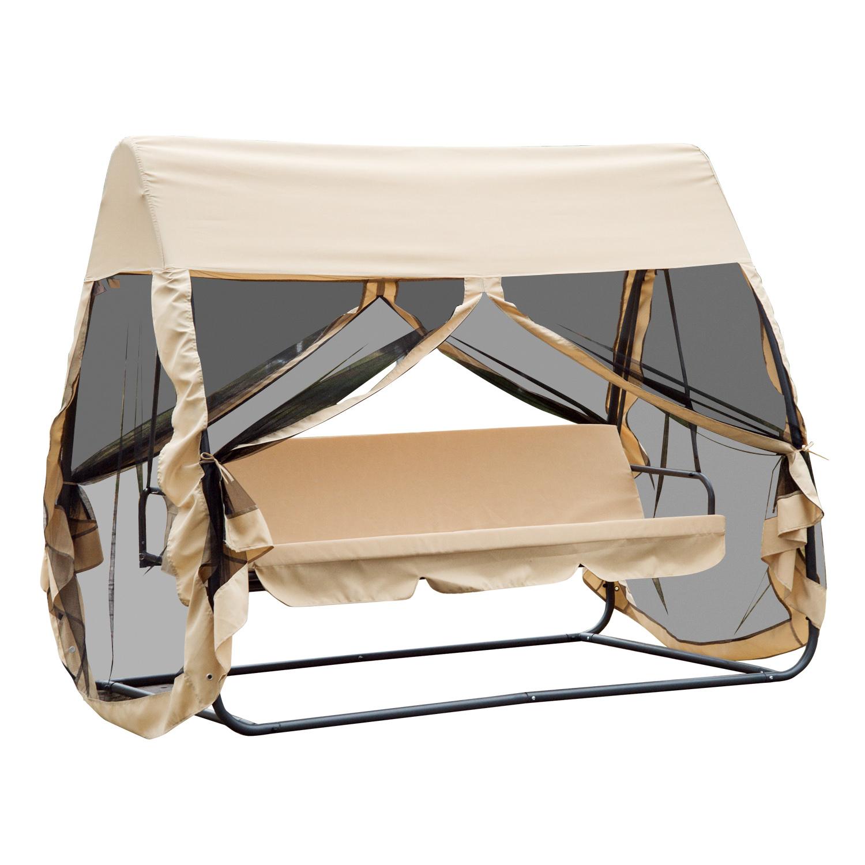 Outsunny Balancelle de jardin convertible 3 places grand confort : matelas assise dossier, moustiquaire intégrale zippée avec toit, pochette rangement métal époxy polyester beige