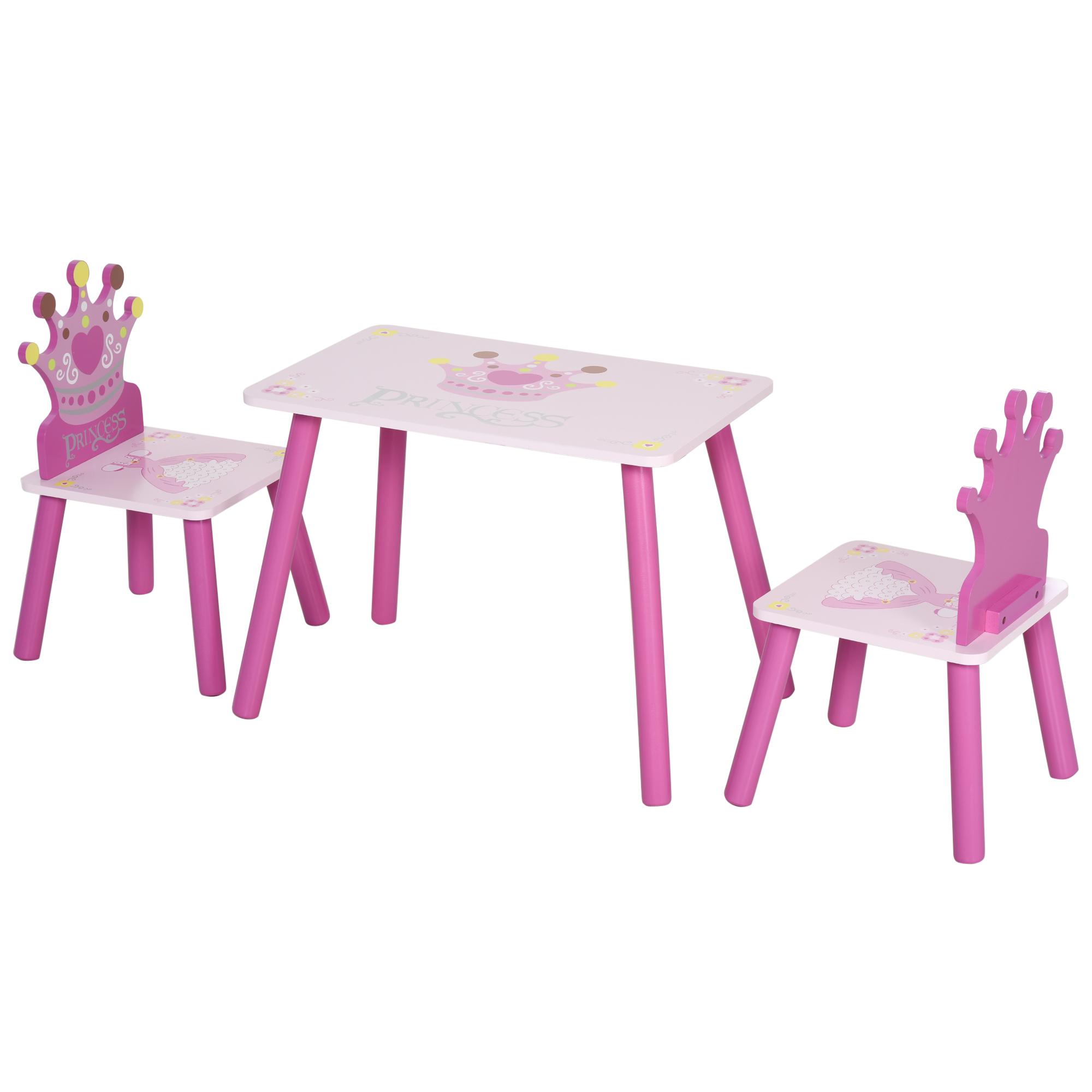 Ensemble table et chaises enfant design princesse couronne bois pin MDF rose